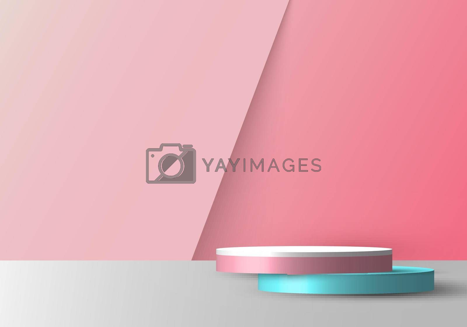 3D realistic empty pink, blue and white round pedestal mockup overlapped on soft pink backdrop. Stage floor for your graphic. Studio room showcase of modern interior design. Vector illustration