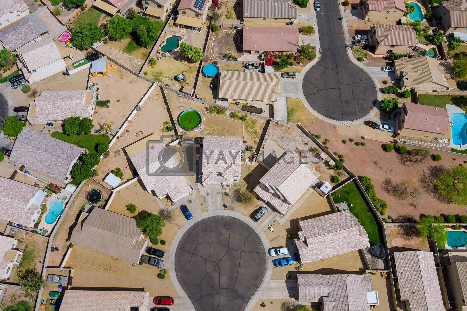 Avondale near Phoenix Arizona the panorama aerial view over showing neighborhood family private houses on USA