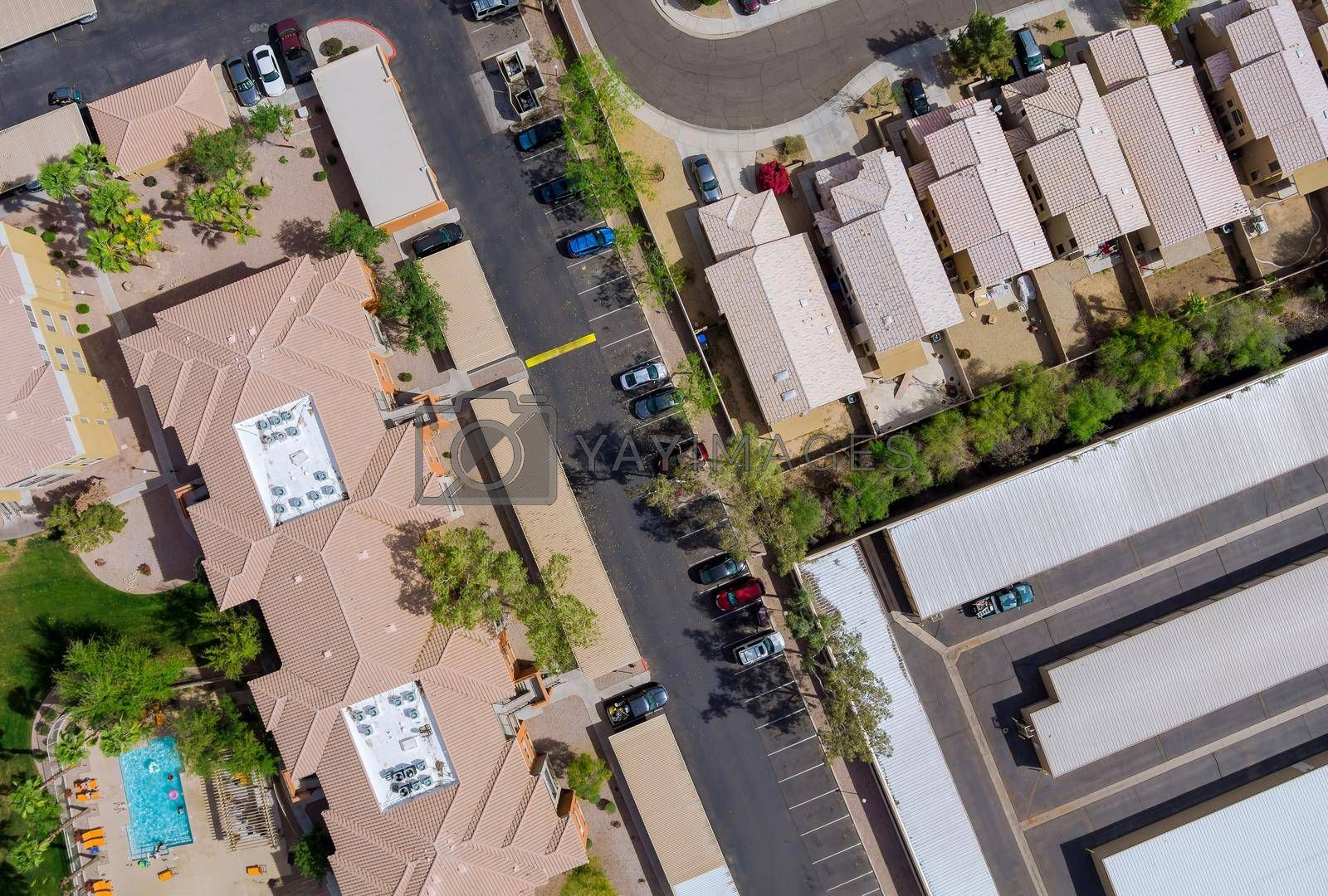 Aerial view of mixing single family homes, apartment buildings a residential district a Avondale near Phoenix Arizona USA