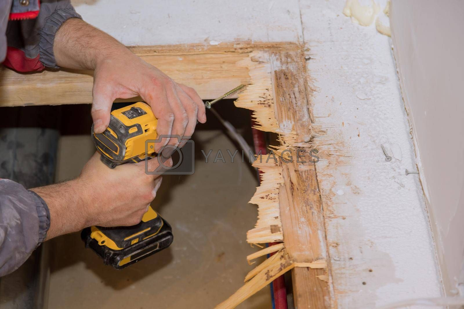 Preparing restoration the man floor repair in the house plywood replacement