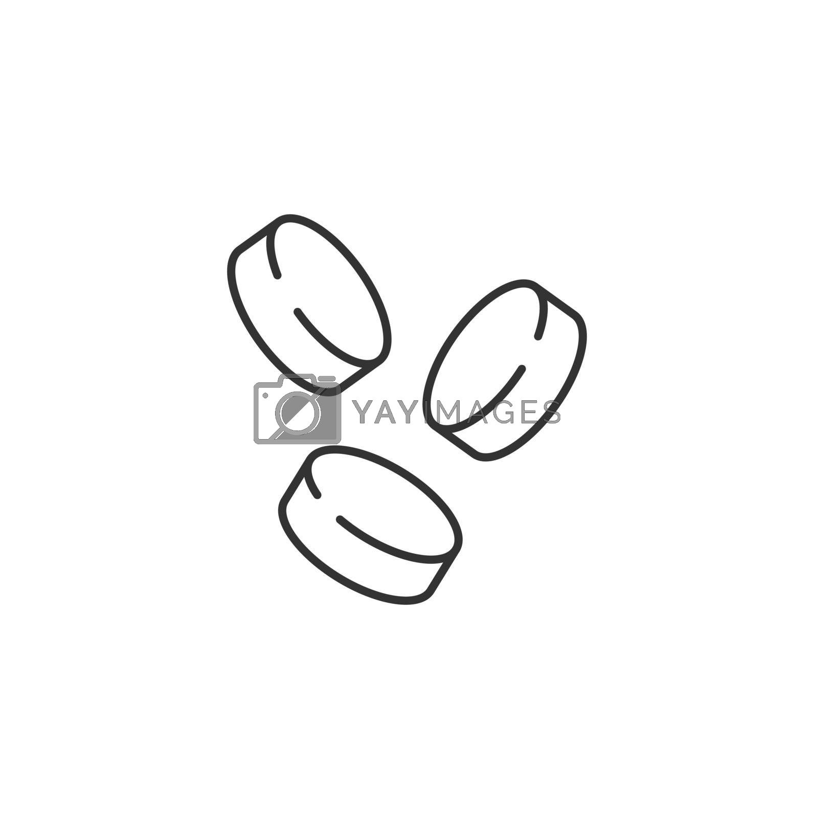 Coins Related Vector Line Icon. Sign Isolated on the White Background. Editable Stroke EPS file. Vector illustration.