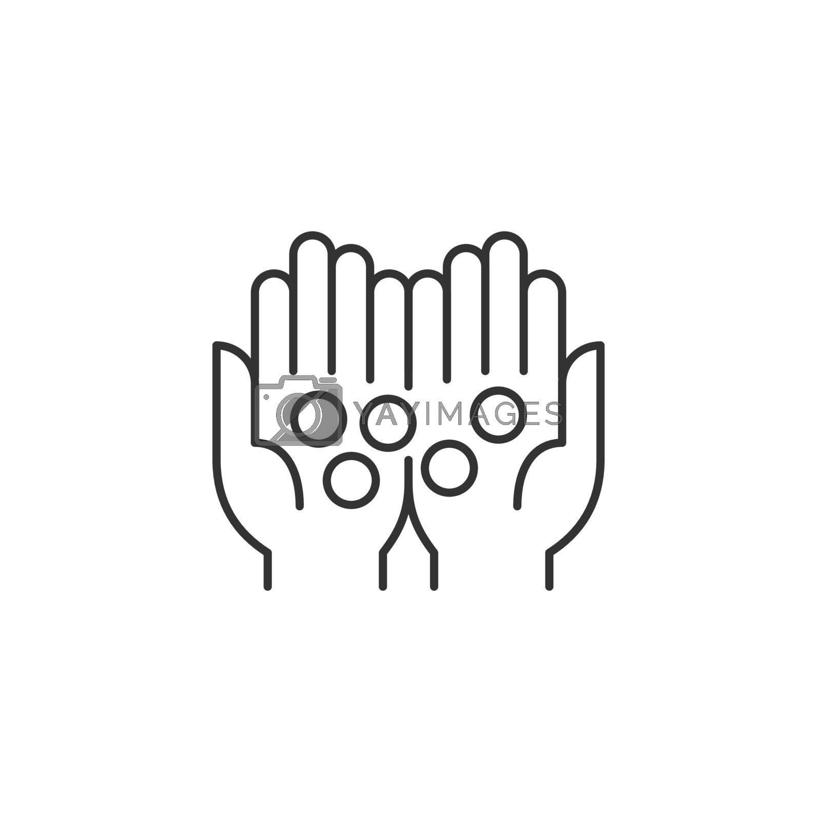 Coins in Palms Related Vector Line Icon. Sign Isolated on the White Background. Editable Stroke EPS file. Vector illustration.