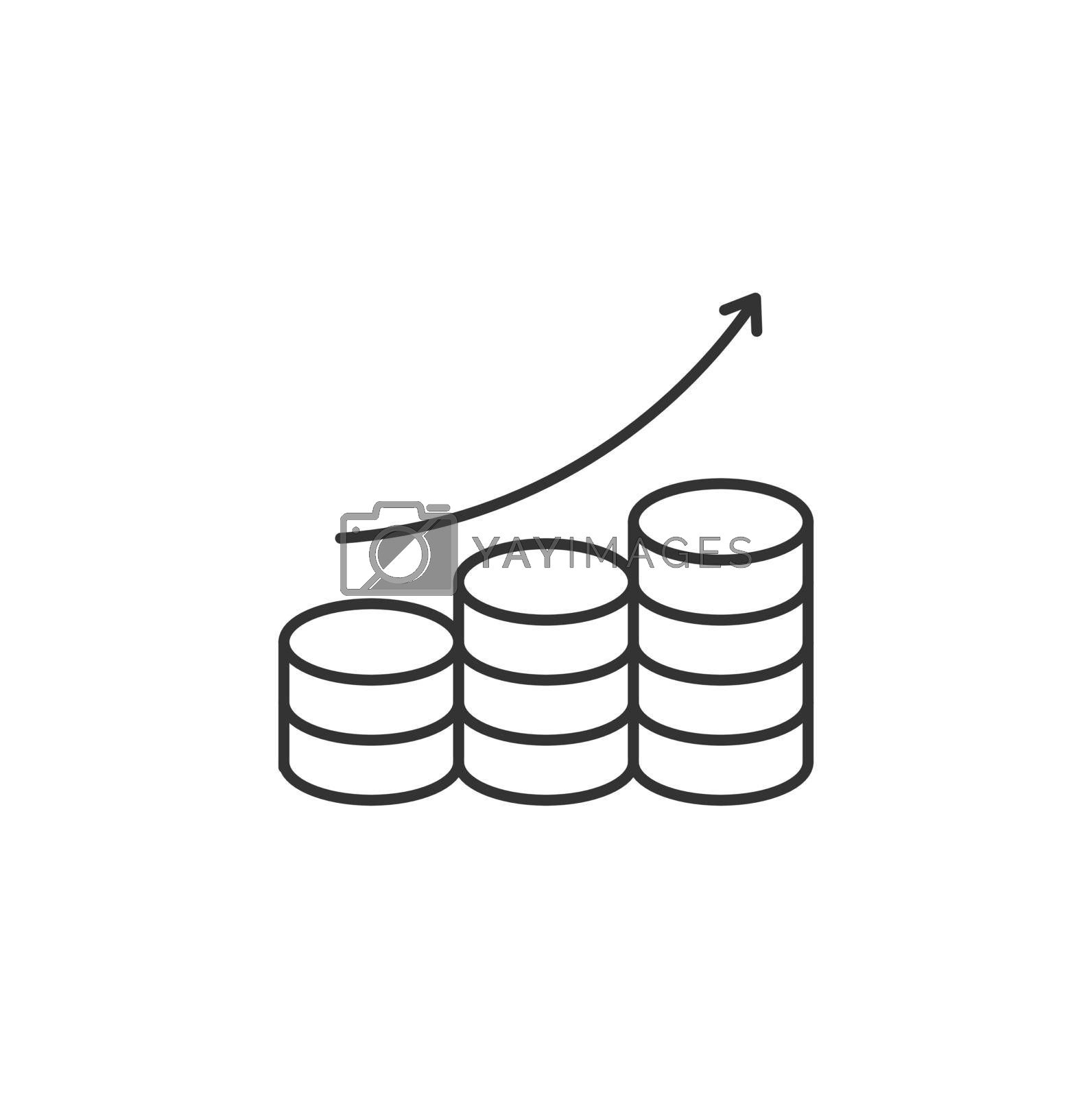 Coins Stack with Arrow Up Related Vector Line Icon. Sign Isolated on the White Background. Editable Stroke EPS file. Vector illustration.