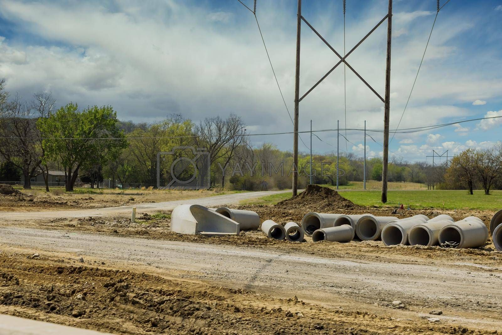 Main road drainage system under construction on concrete manholes are installed at constructed for draining stormwater