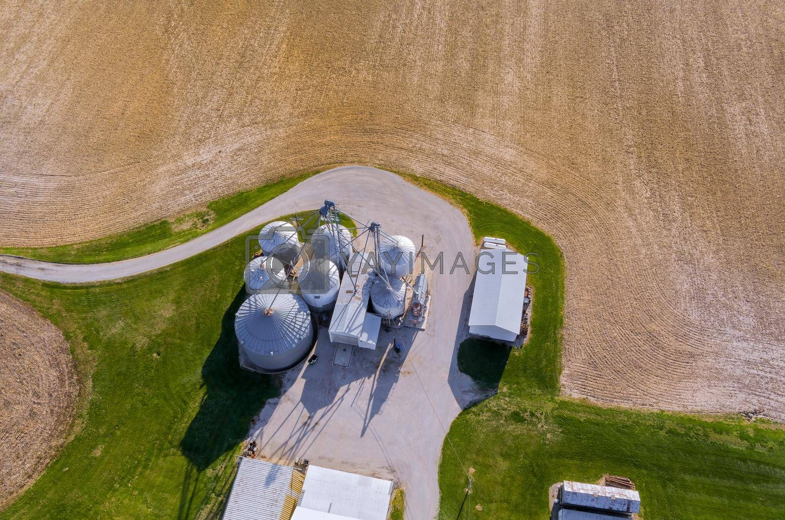 Agricultural silos building exterior storage of products drying of grains wheat