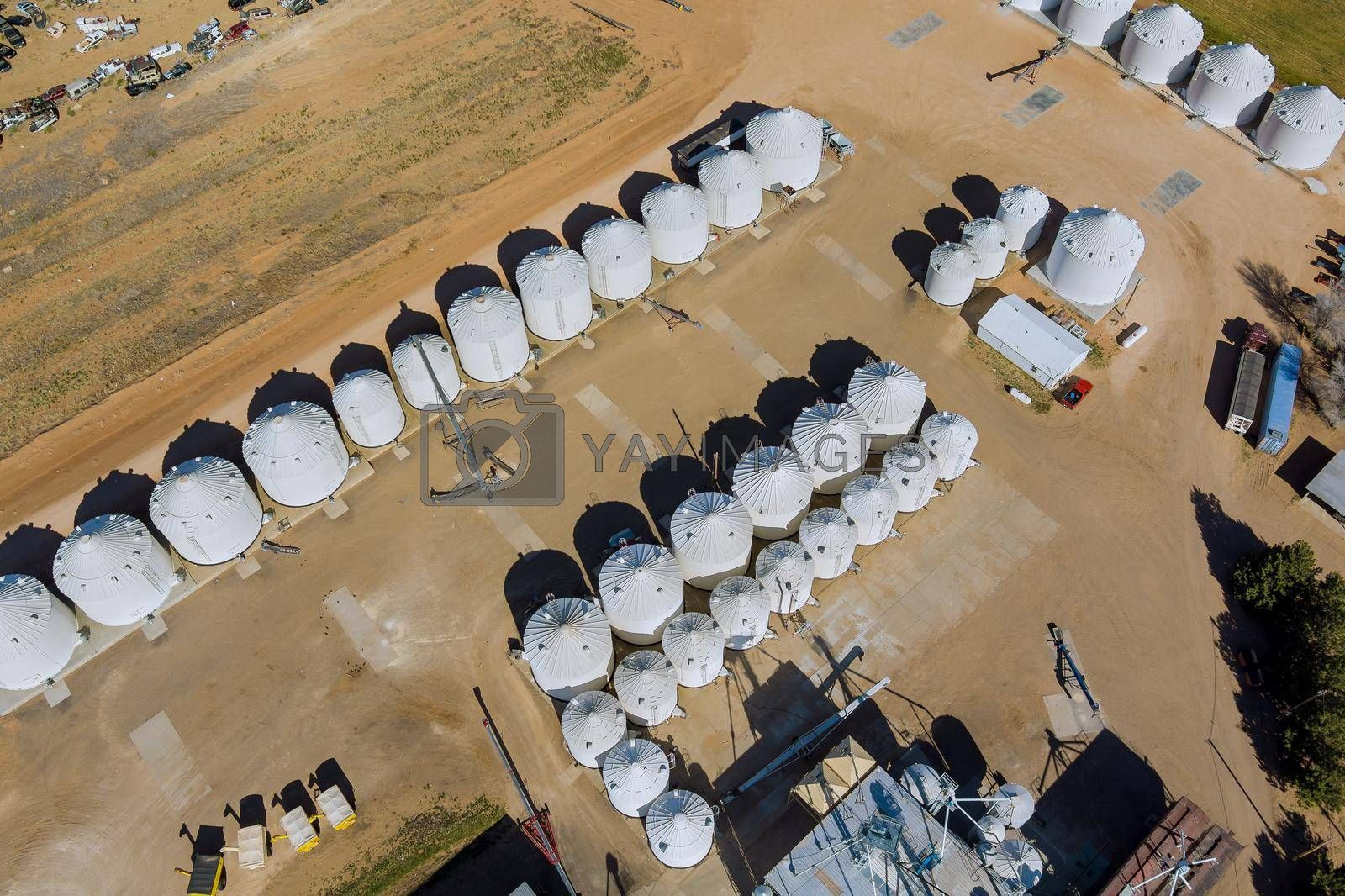Agro plant elevator processing silos for drying cleaning storage of agricultural products grain in the US