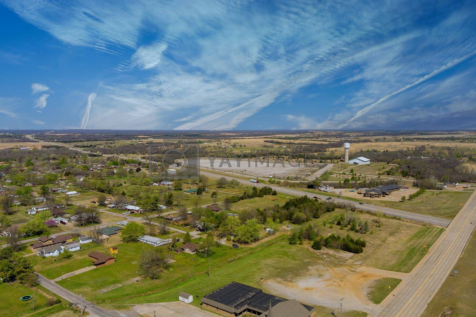 Aerial view of residential quarters at beautiful town urban landscape the Stroud Oklahoma US
