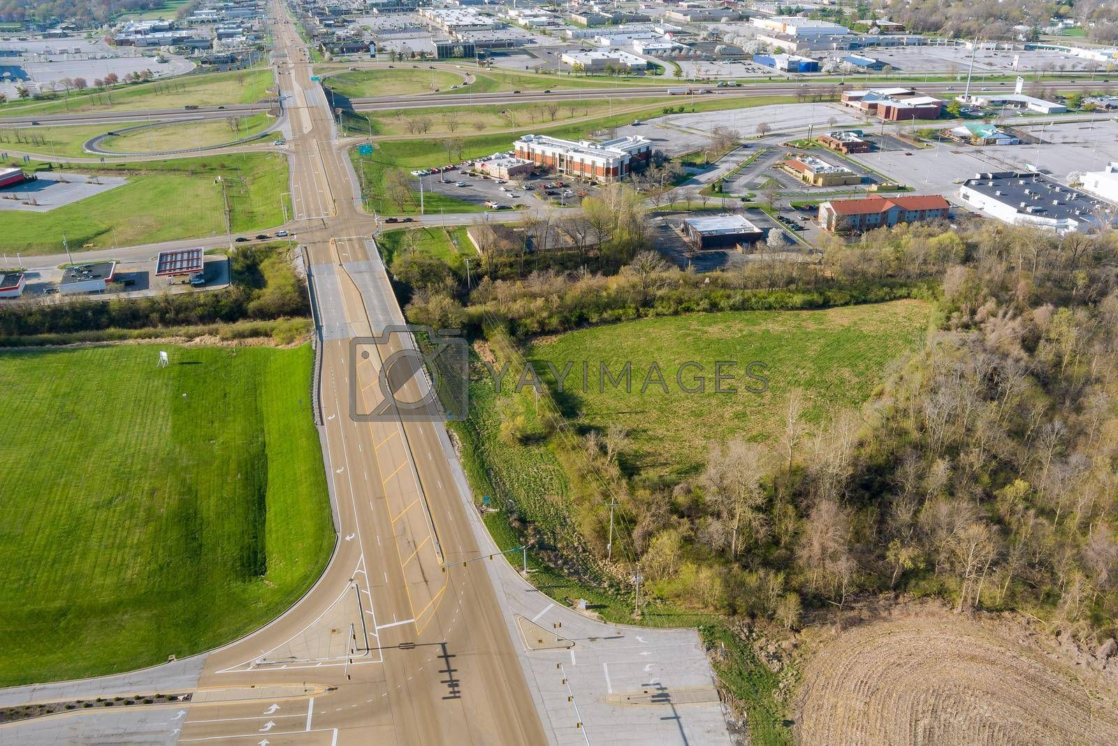 Aerial panorama view of residential quarters at beautiful town urban landscape the Fairview Heights Illinois US