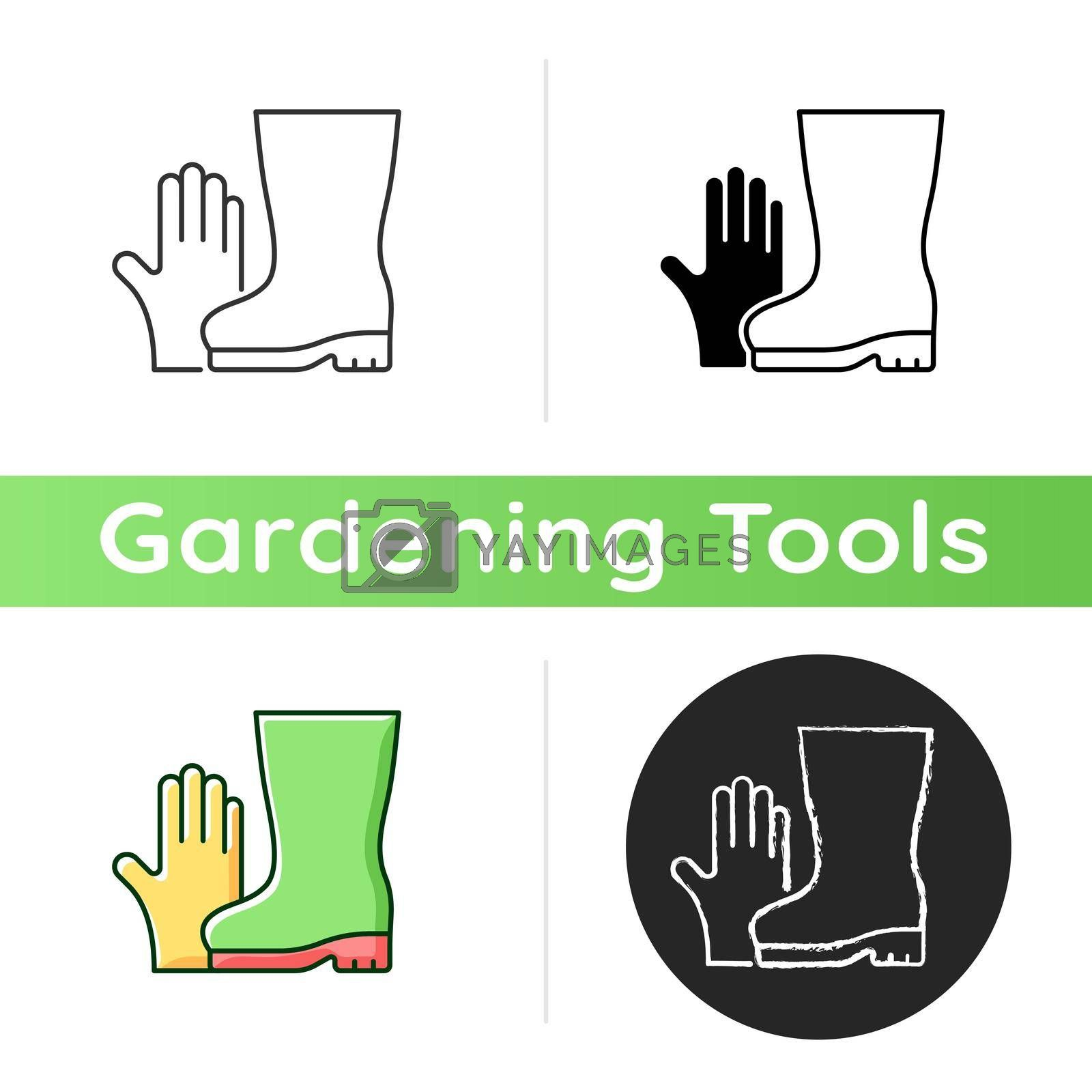 Gardening gloves and boots icon. Garden and yard work. Keeping hands and fingernails safe and clean. Cuts and scrapes prevention. Linear black and RGB color styles. Isolated vector illustrations