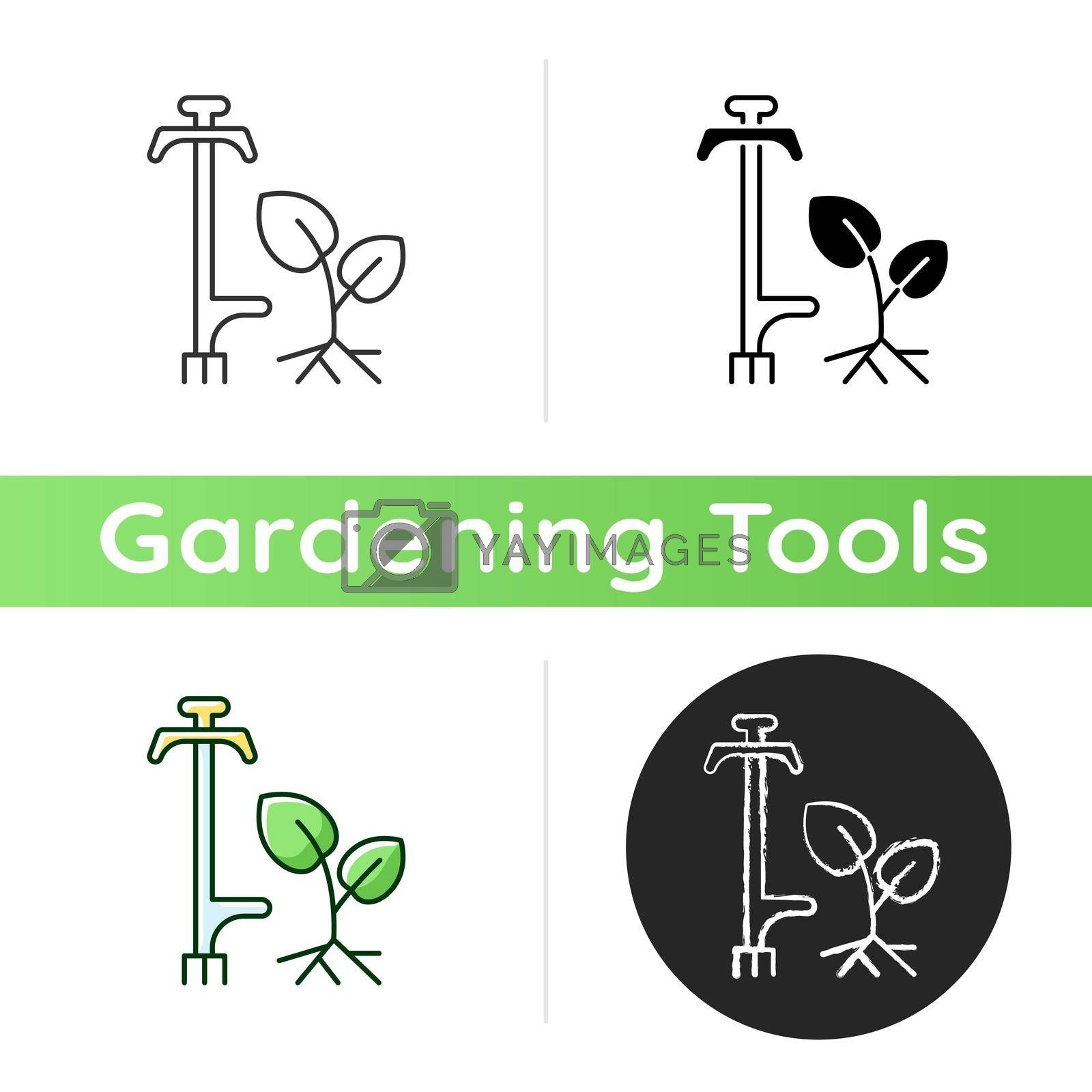 Weed puller icon. Garden and lawn care. Pulling tool. Removing unwanted deep-rooted weeds. Getting dandelions, thistles rid. Linear black and RGB color styles. Isolated vector illustrations