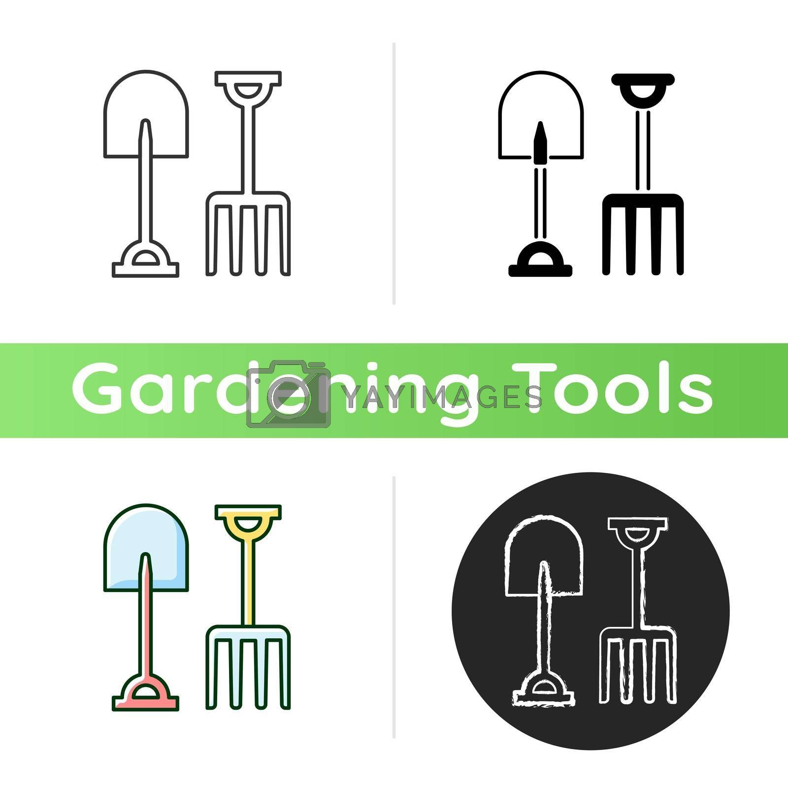 Garden fork and spade icon. Loosening, blending soil. Light cultivation. Moving bulk materials. Pitchfork. Digging trenches. Linear black and RGB color styles. Isolated vector illustrations