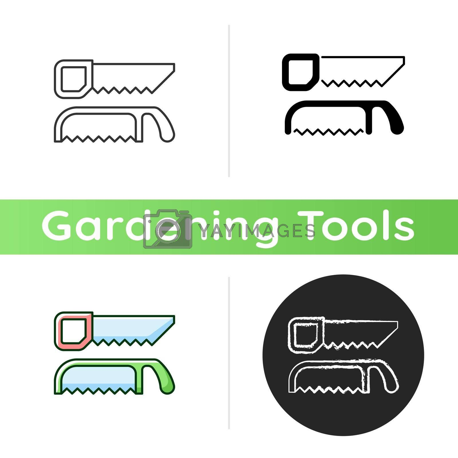 Saws icon. Cutting fresh and dry wood. Handsaw. Blade with sharp teeth. Pruning garden plants. Trimming live shrubs and trees. Linear black and RGB color styles. Isolated vector illustrations