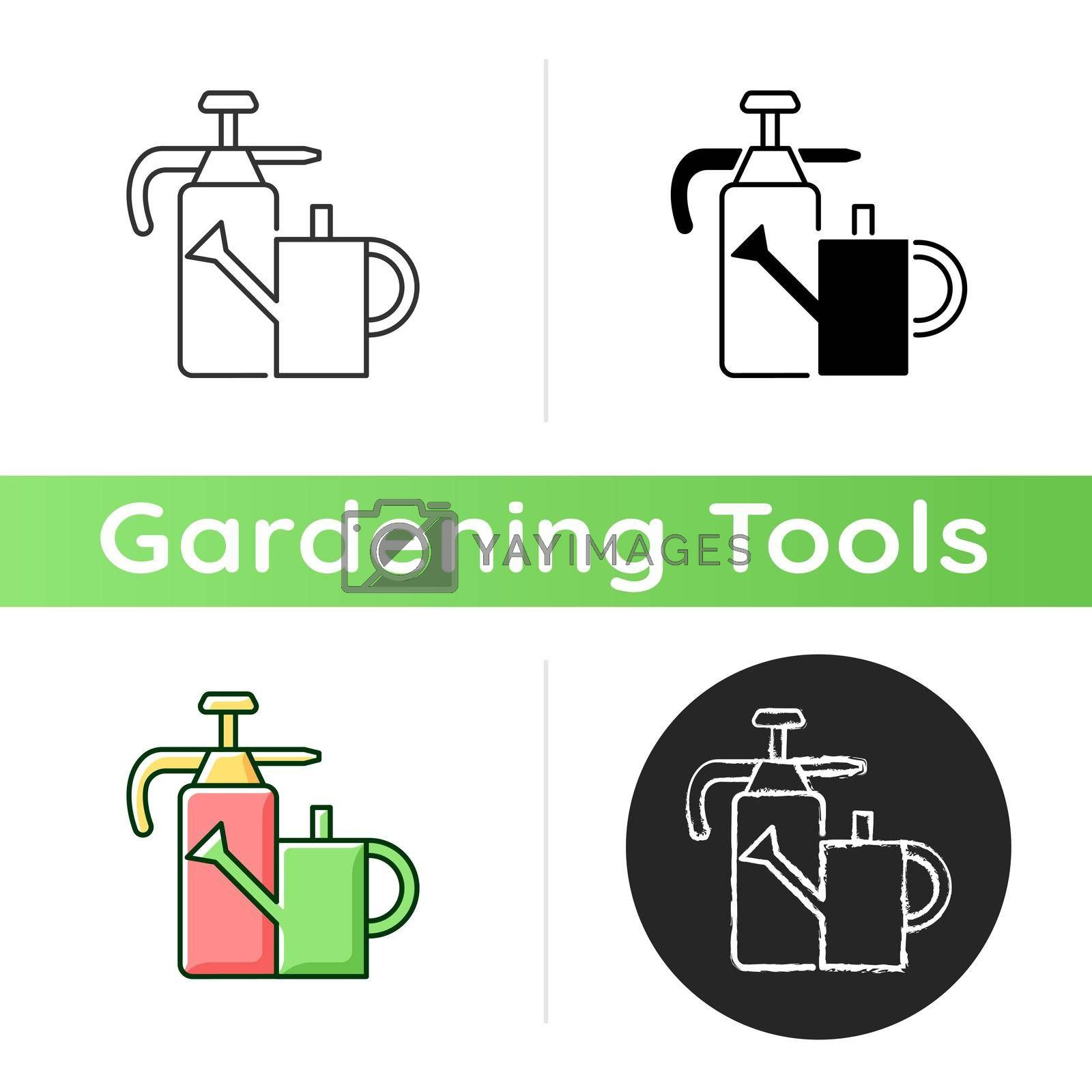 Watering can and hand sprayer icon. Healthy garden maintenance. Fertilizers, herbicides application. Horticultural purposes. Linear black and RGB color styles. Isolated vector illustrations