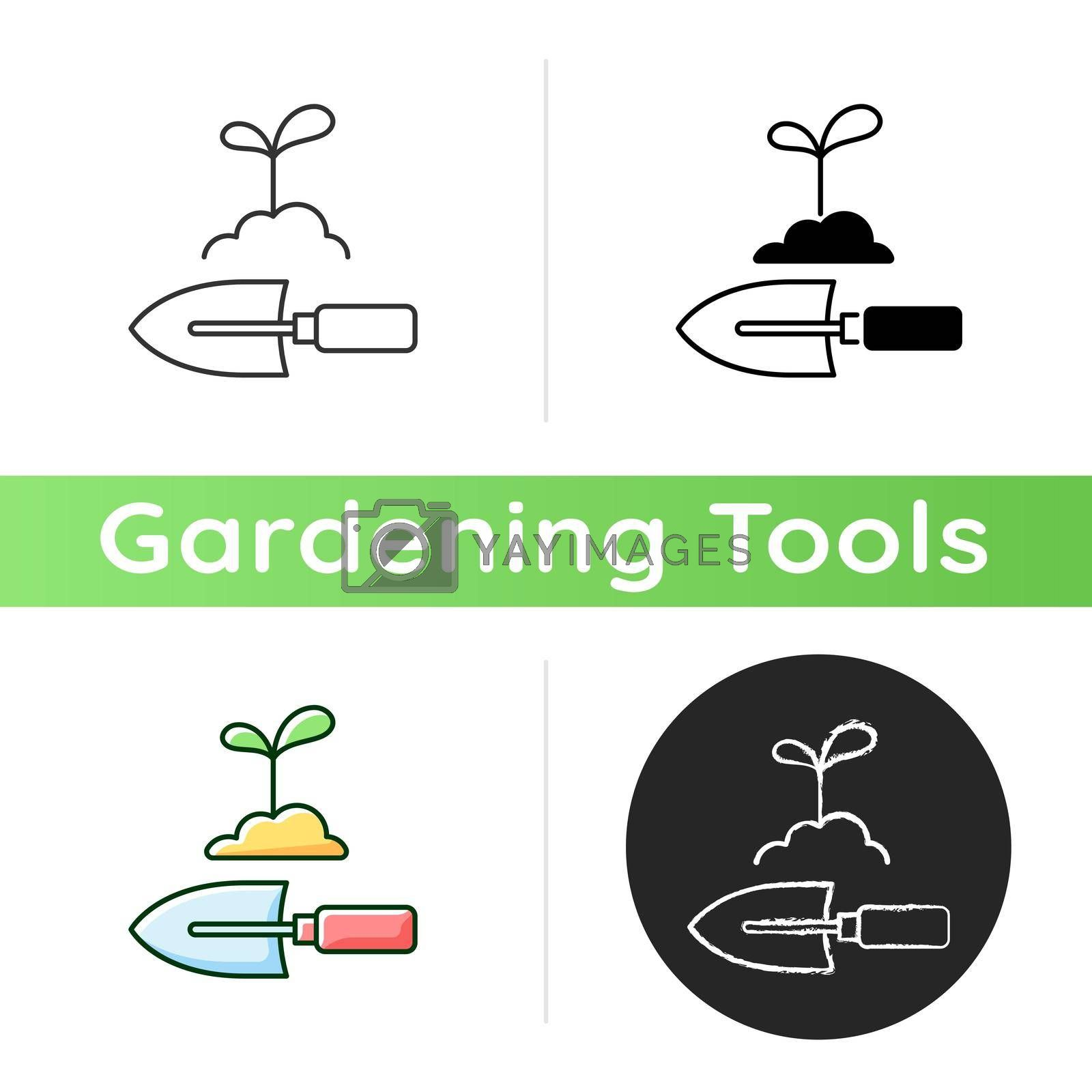 Hand trowel icon. Digging small holes. Smoothing soil. Hand shovel. Spring bulb, perennial planting. Transplanting seedlings. Linear black and RGB color styles. Isolated vector illustrations