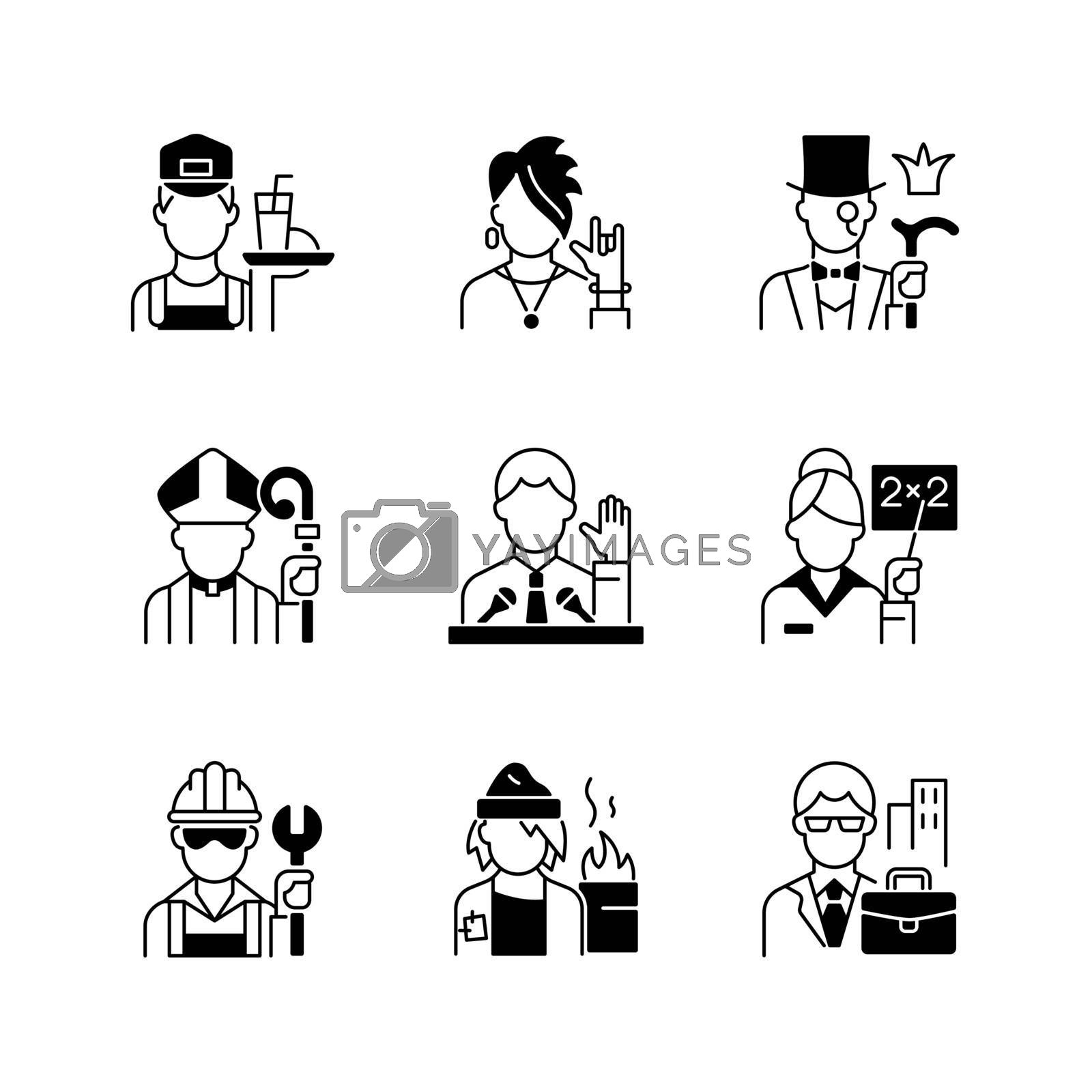 Social class black linear icons set. Working poor. Subculture group. Aristocratic elite. Clergy status. White, blue, pink collar workers. Glyph contour symbols. Vector isolated outline illustrations