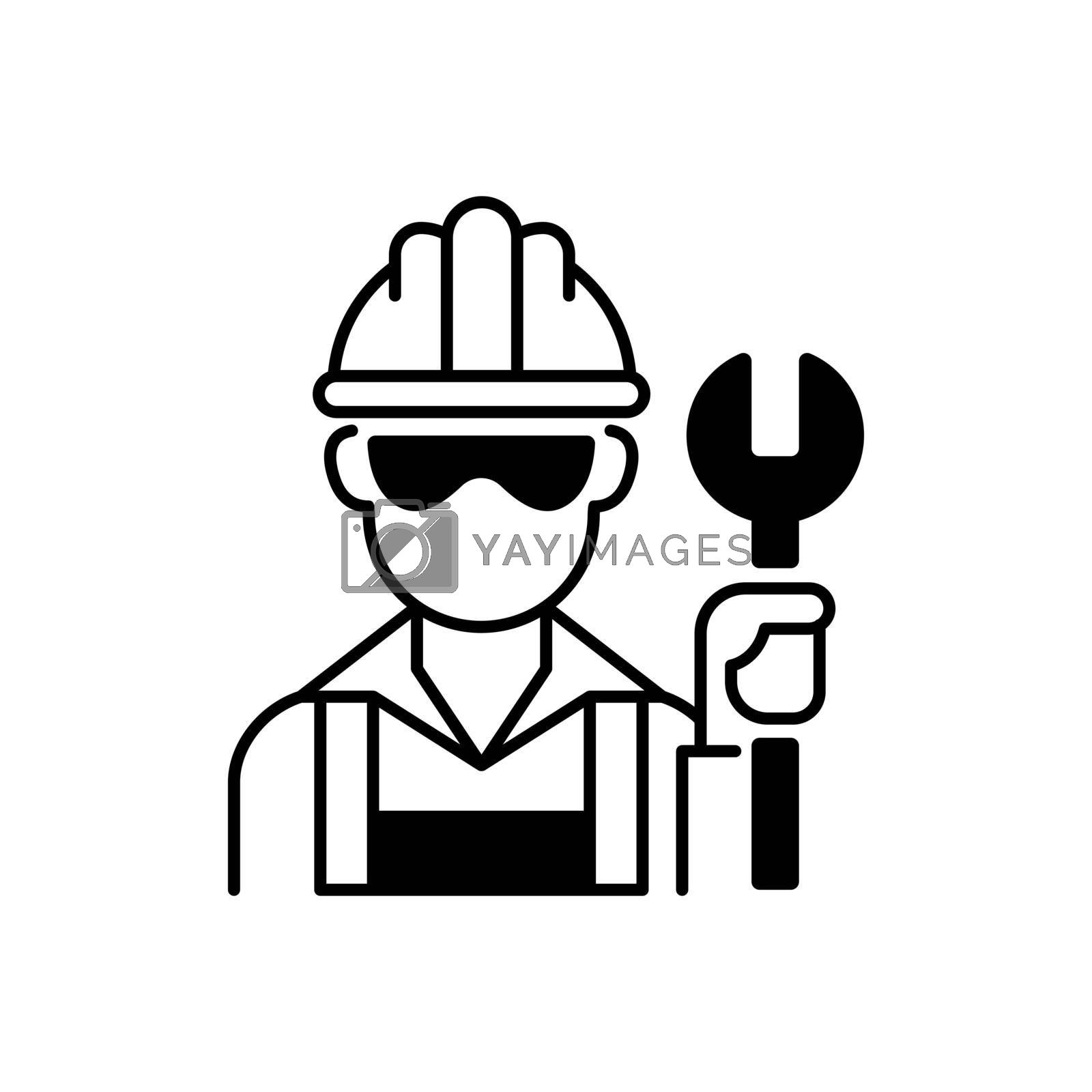 Blue collar worker black linear icon. Repairman with wrench. Mechanic with tool for construction work. Profession, occupation. Social class. Outline symbol on white space. Vector isolated illustration