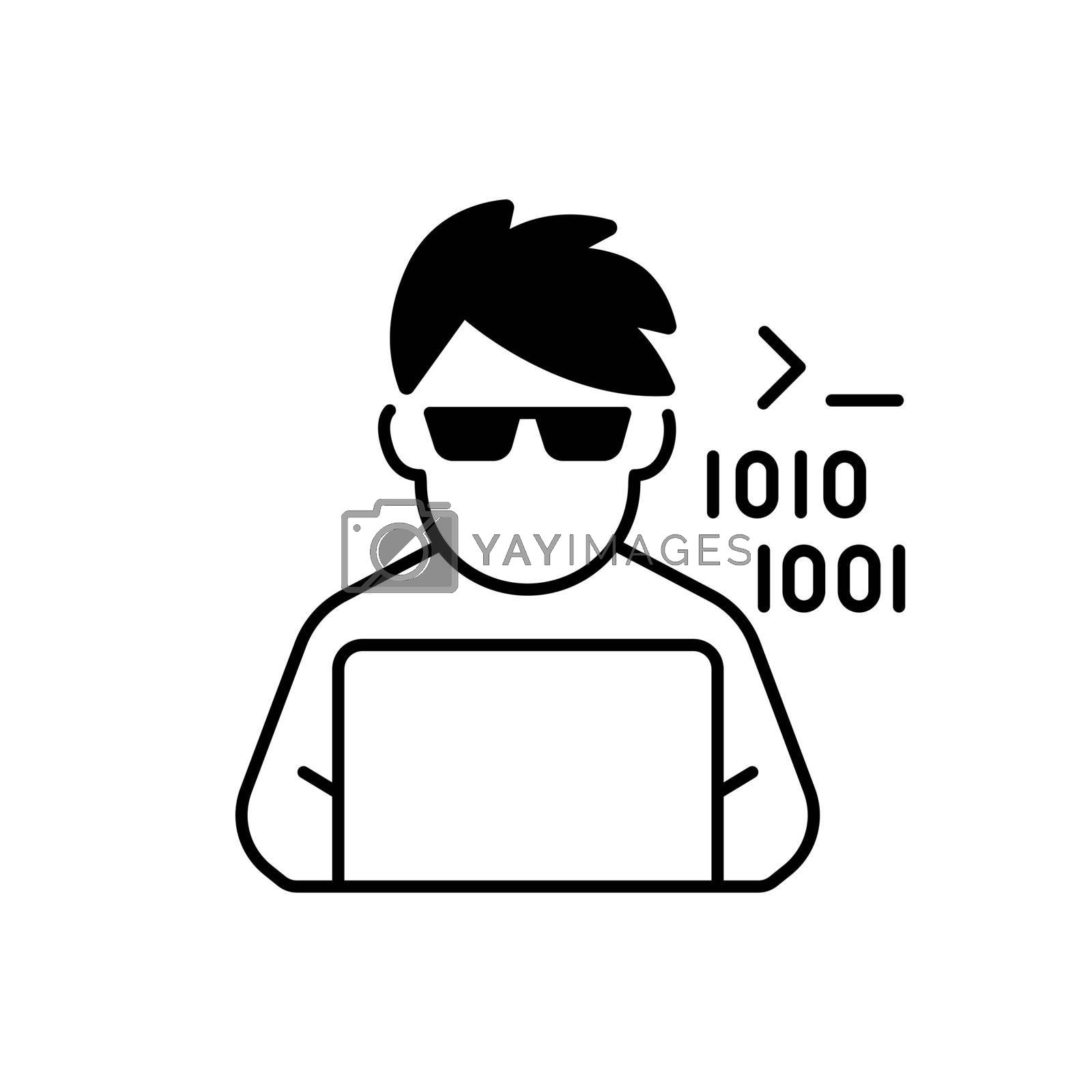 Programmer, computer expert black linear icon. Man coding on laptop. Freelance software developer at work. Coder at laptop. Social class. Outline symbol on white space. Vector isolated illustration