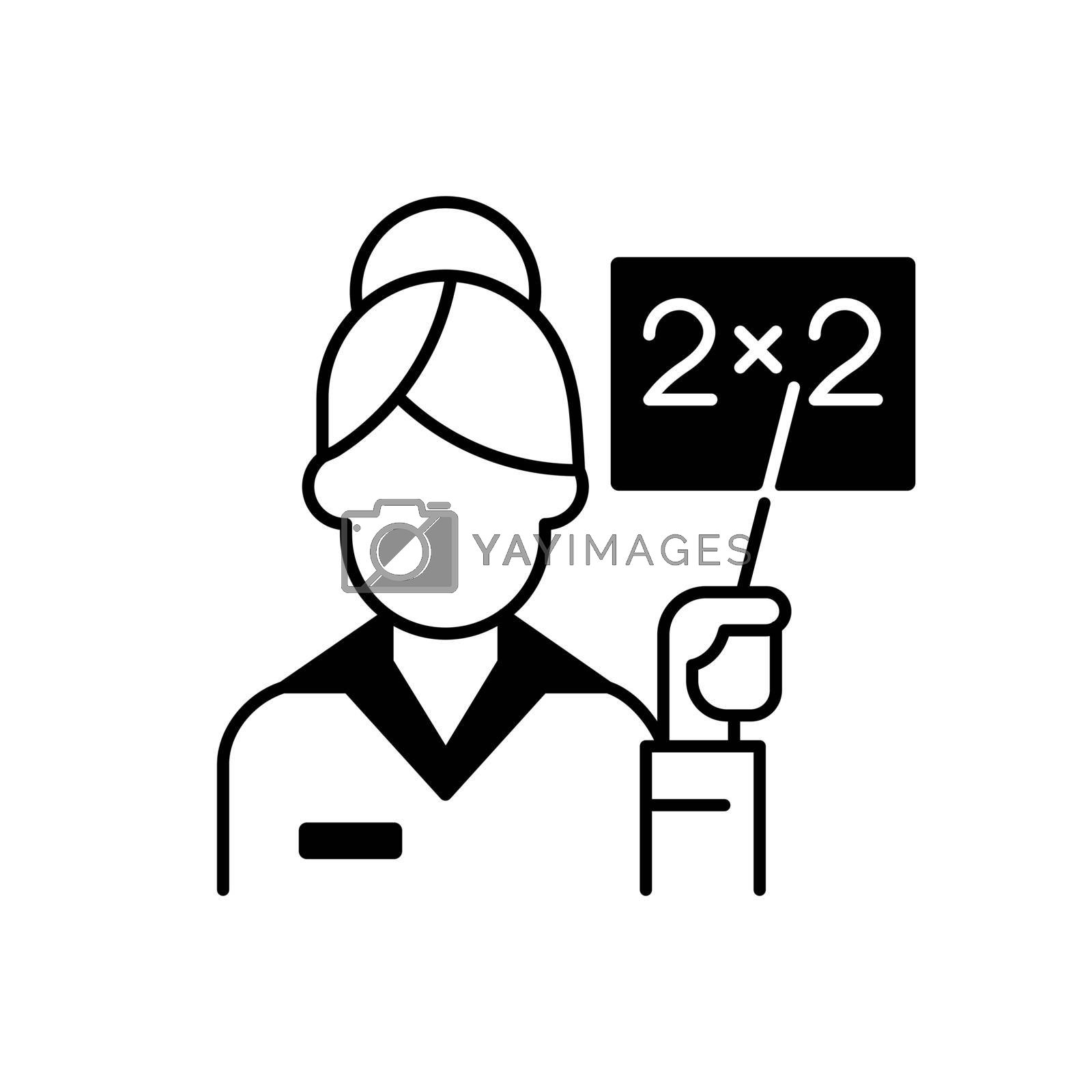 Pink collar worker black linear icon. Woman teaching class. Professional lecturer. Preschool childcare. Occupation in elementary school. Outline symbol on white space. Vector isolated illustration