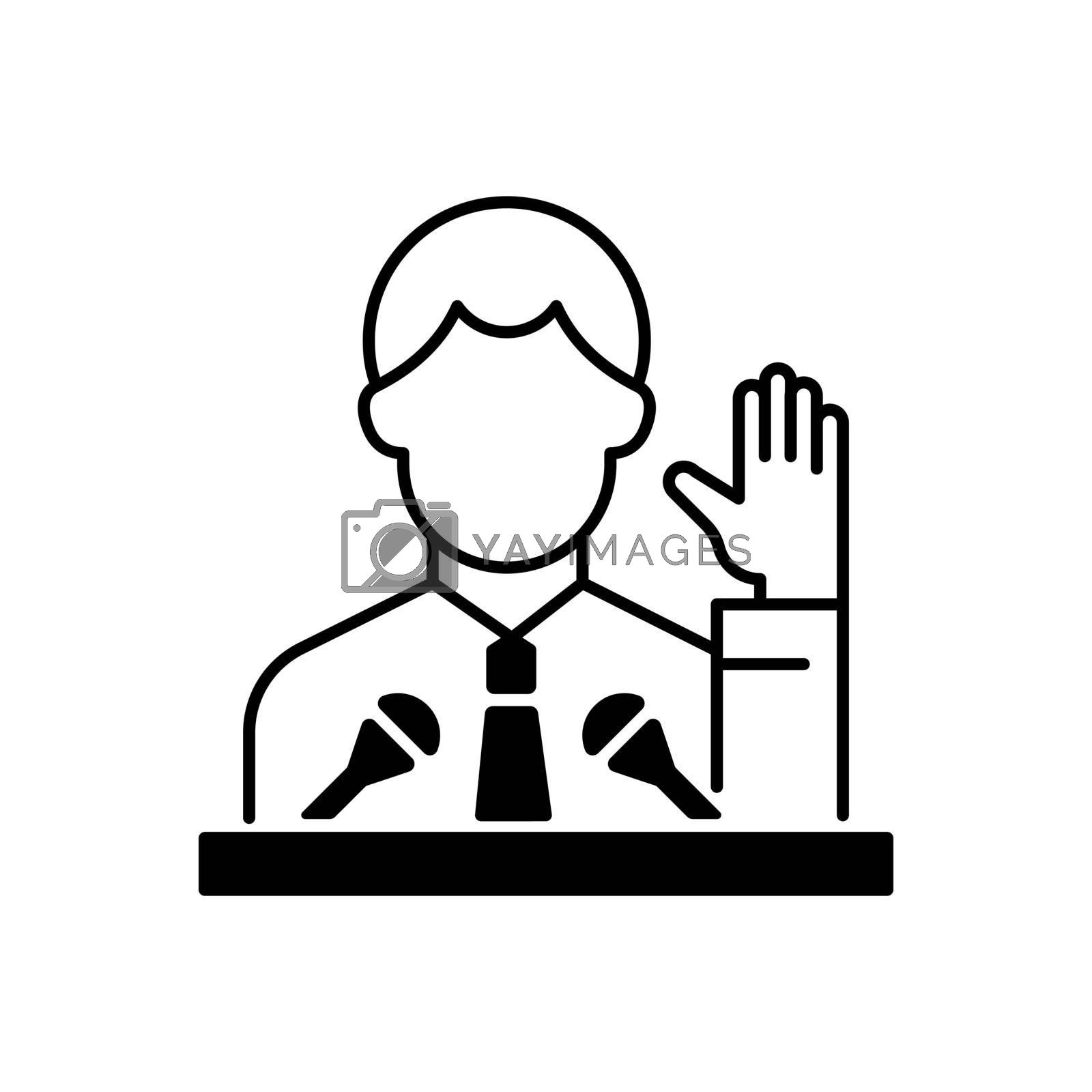 Political elite black linear icon. Public demonstration, speaker from government. Social leadership. High status of influence, power. Outline symbol on white space. Vector isolated illustration