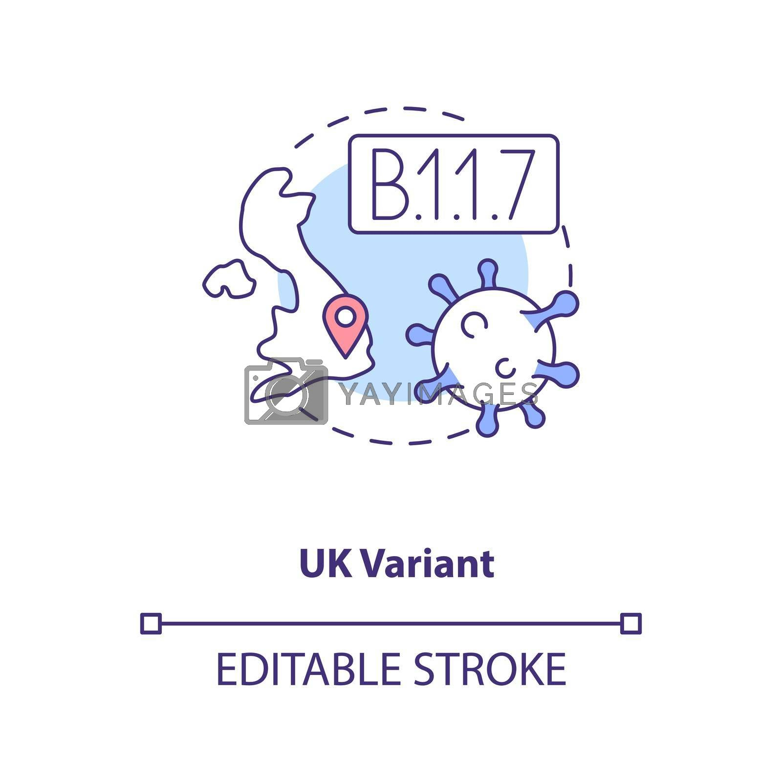 Uk variant concept icon. Disease becoming more deadly and difficult to treat. Illness types. Covid idea thin line illustration. Vector isolated outline RGB color drawing. Editable stroke