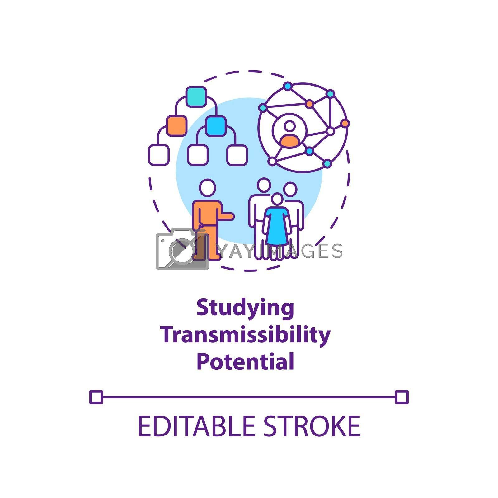 Studying transmissibility potential concept icon. Discovering spreading speed of virus. Covid pandemia idea thin line illustration. Vector isolated outline RGB color drawing. Editable stroke