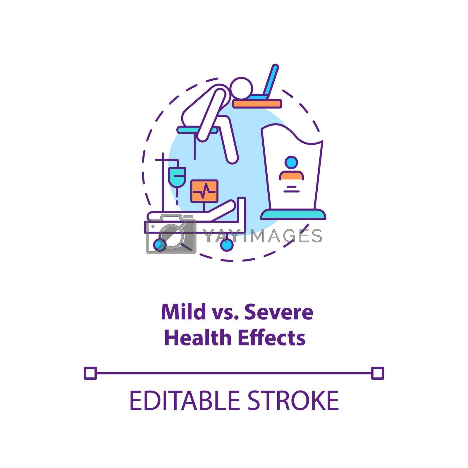 Mild vs severe health effects concept icon. Different result after illness treatment. Covid pandemia idea thin line illustration. Vector isolated outline RGB color drawing. Editable stroke