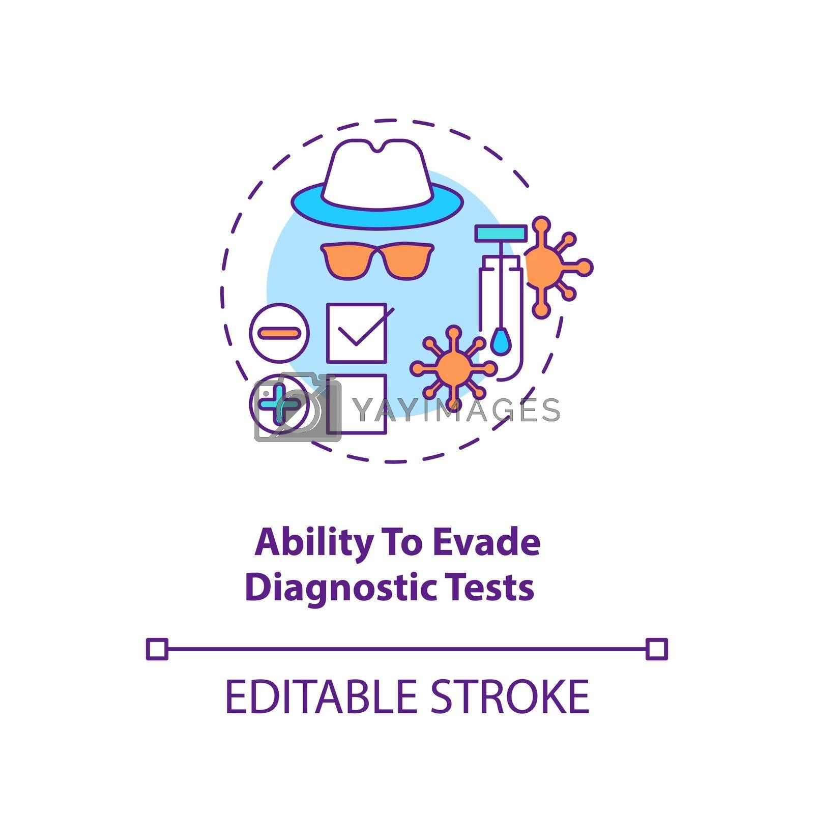 Ability to evade diagnostic tests concept icon. Virus not appearing on any medical tests. Disease treatment idea thin line illustration. Vector isolated outline RGB color drawing. Editable stroke