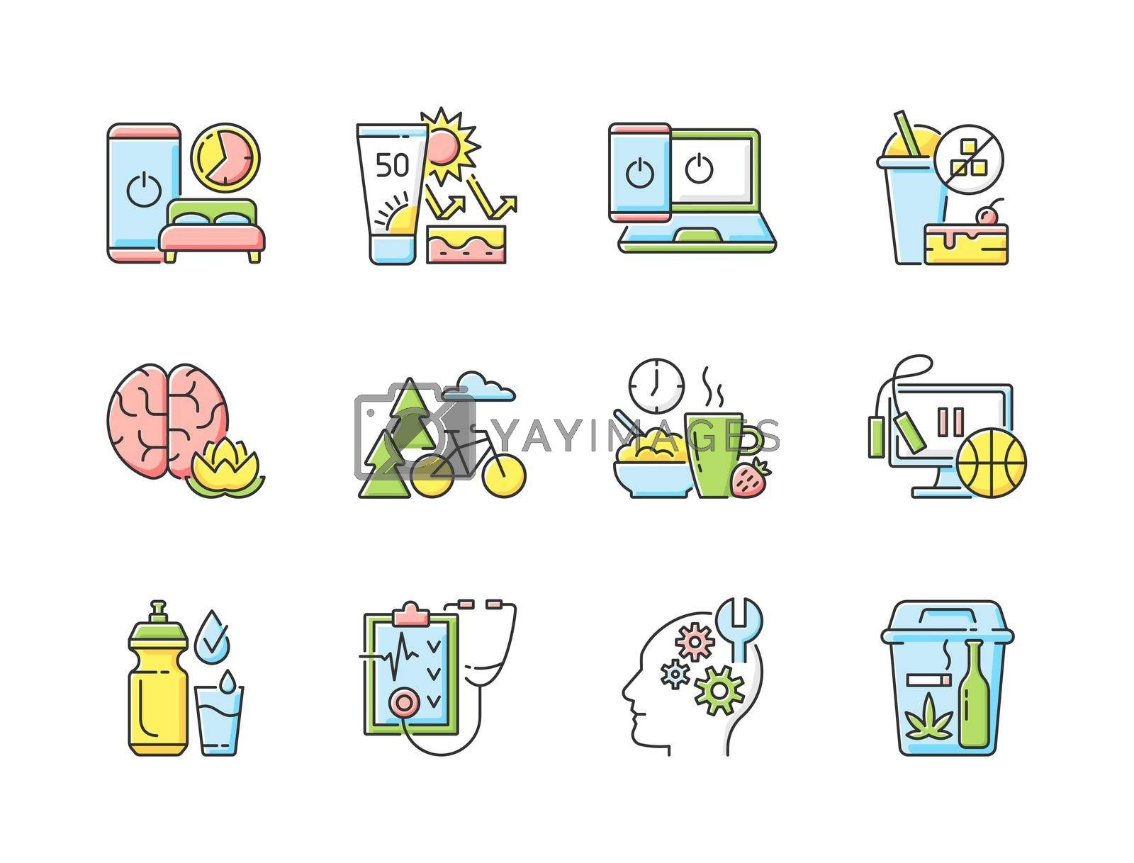 Healthy activity RGB color icons set. Quit bad habit. Learn new skill. Regular health checkup. Drink water. Exercise break. Healthy breakfast. Outdoor activity. Isolated vector illustrations