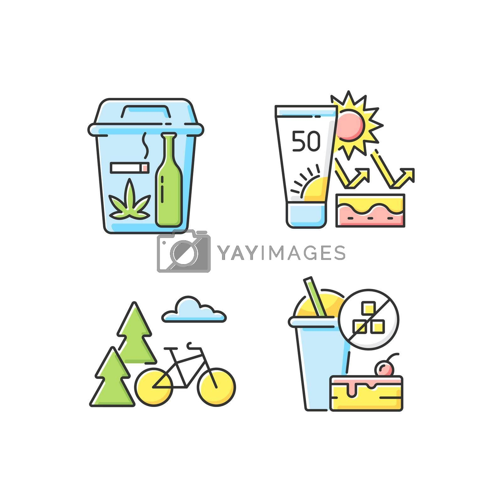 Healthy habits RGB color icons set. Quitting bad habits. Skin protection. Outdoor activity. No added sugar. Self improvement, personal development. Change lifestyle. Isolated vector illustrations
