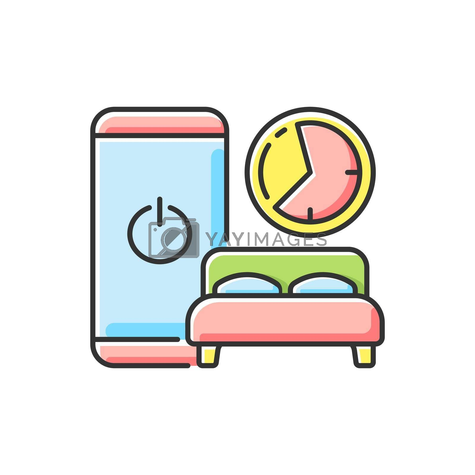 Sleep hygiene RGB color icon. Healthy nighttime routine. Bedtime activity. Schedule to prevent insomnia. Digital detox. Stop gadget addiction. Life improvement. Isolated vector illustration