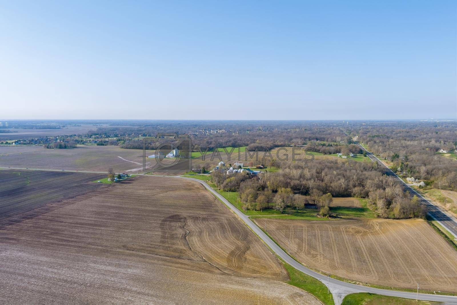 Overlooking view of agricultural production field the near a small town Caseyville Illinois on USA