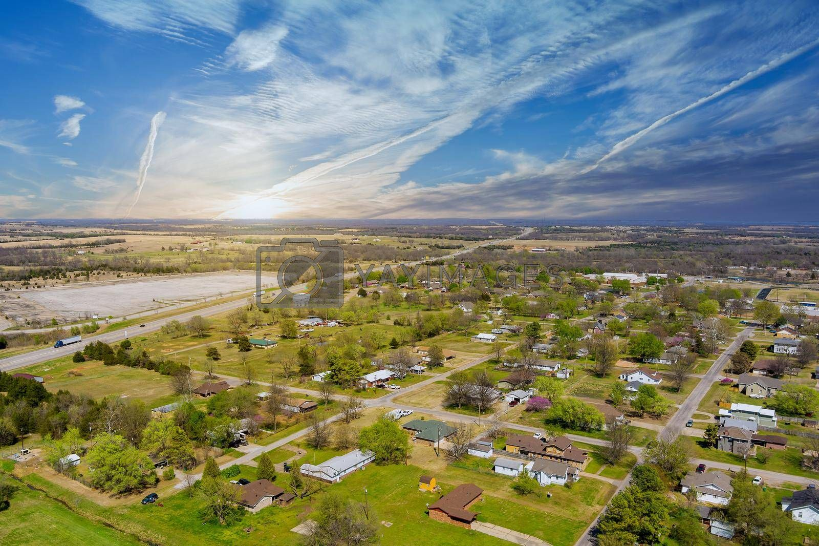 Aerial view of residential district at suburban development with a Stroud Oklahoma USA