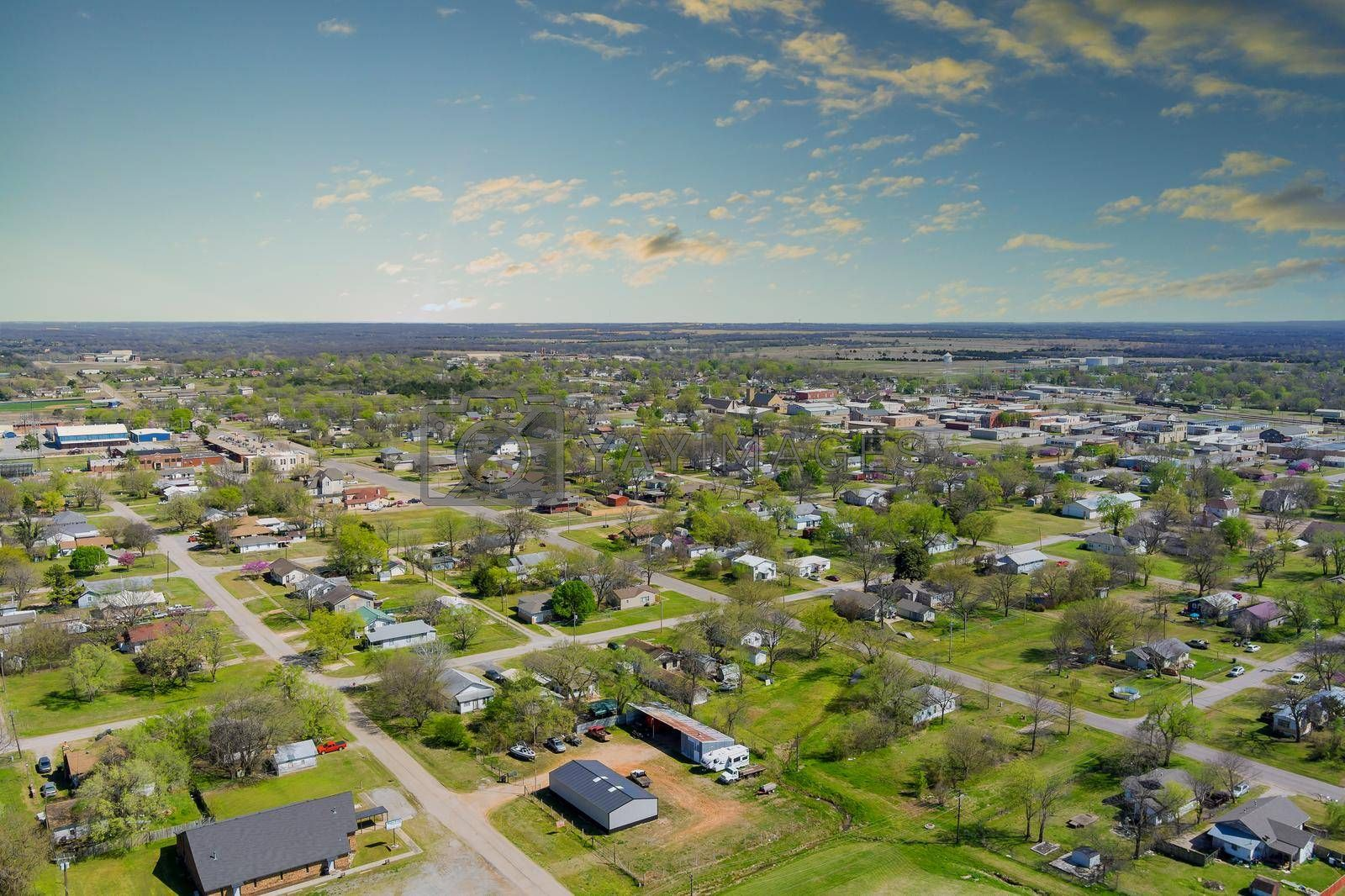 Aerial panorama view of residential quarters at beautiful town urban landscape the Stroud Oklahoma USA