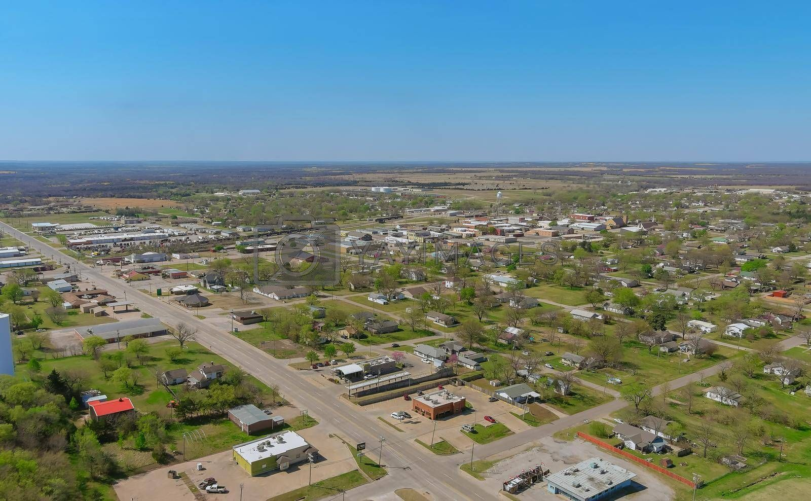 Aerial view panorama of a Stroud small town city of residential district at suburban development with an Oklahoma US