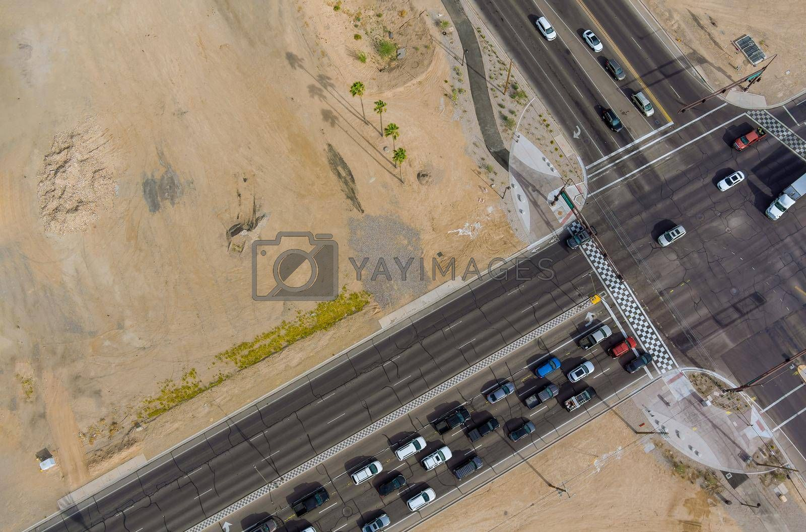 Aerial panorama view major roads intersection of two major highways