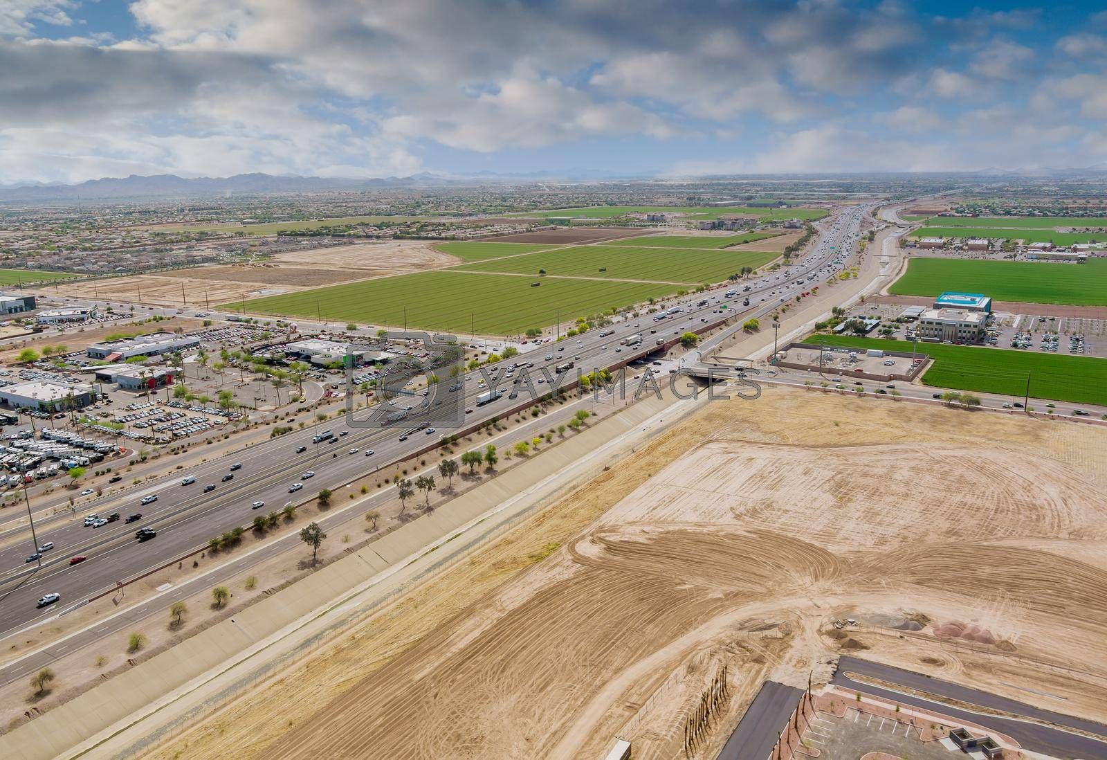 Top view over the traffic backed up during rush hour on Interstate highway, expressway near phoenix on Arizona USA