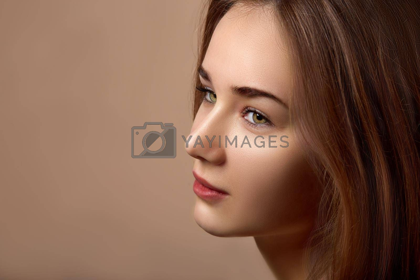 Portrait of a woman with a beautiful eye color. Sensual images of woman concept.