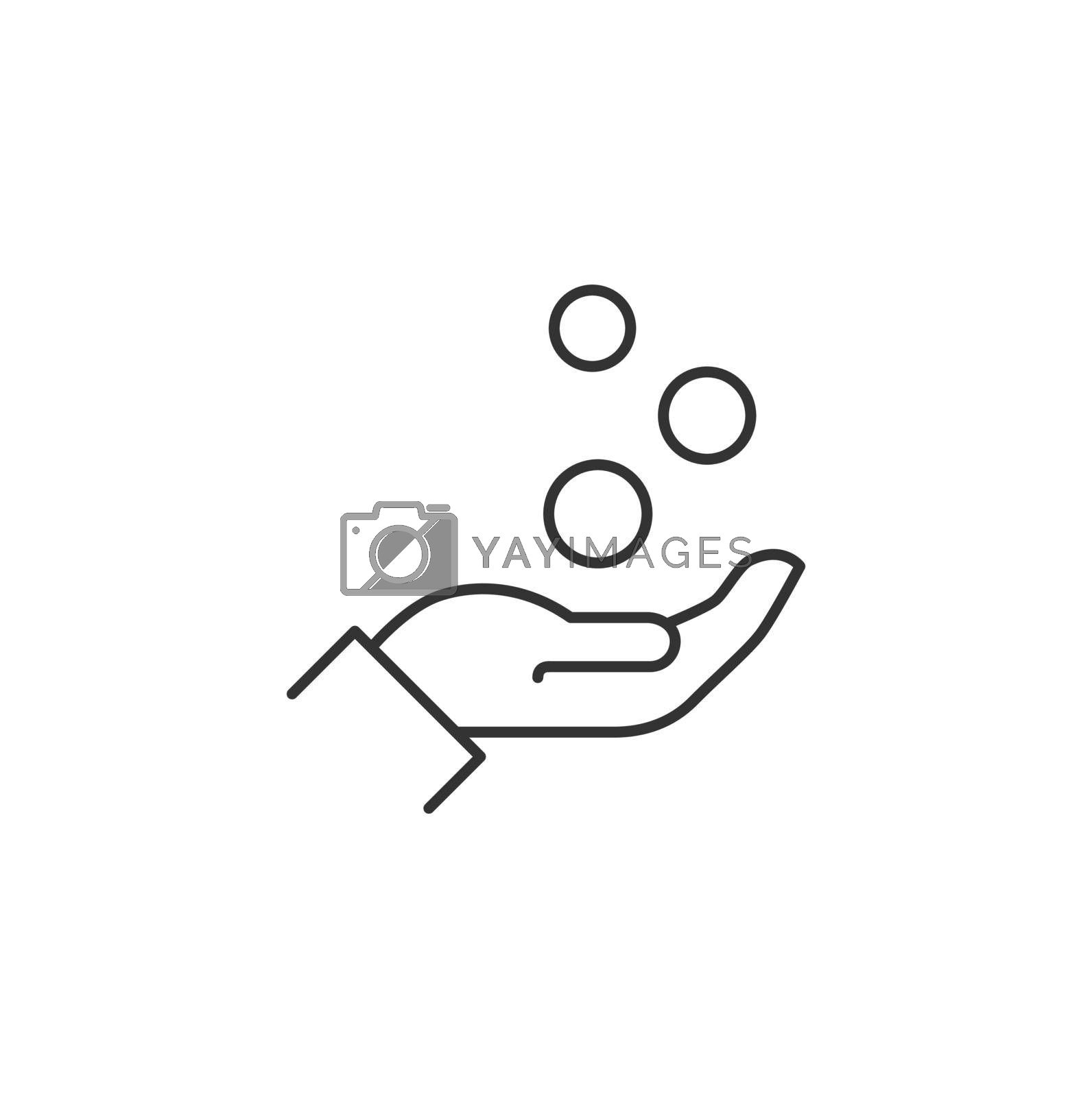 Coins Fall Into the Hand Related Vector Line Icon. Sign Isolated on the White Background. Editable Stroke EPS file. Vector illustration.