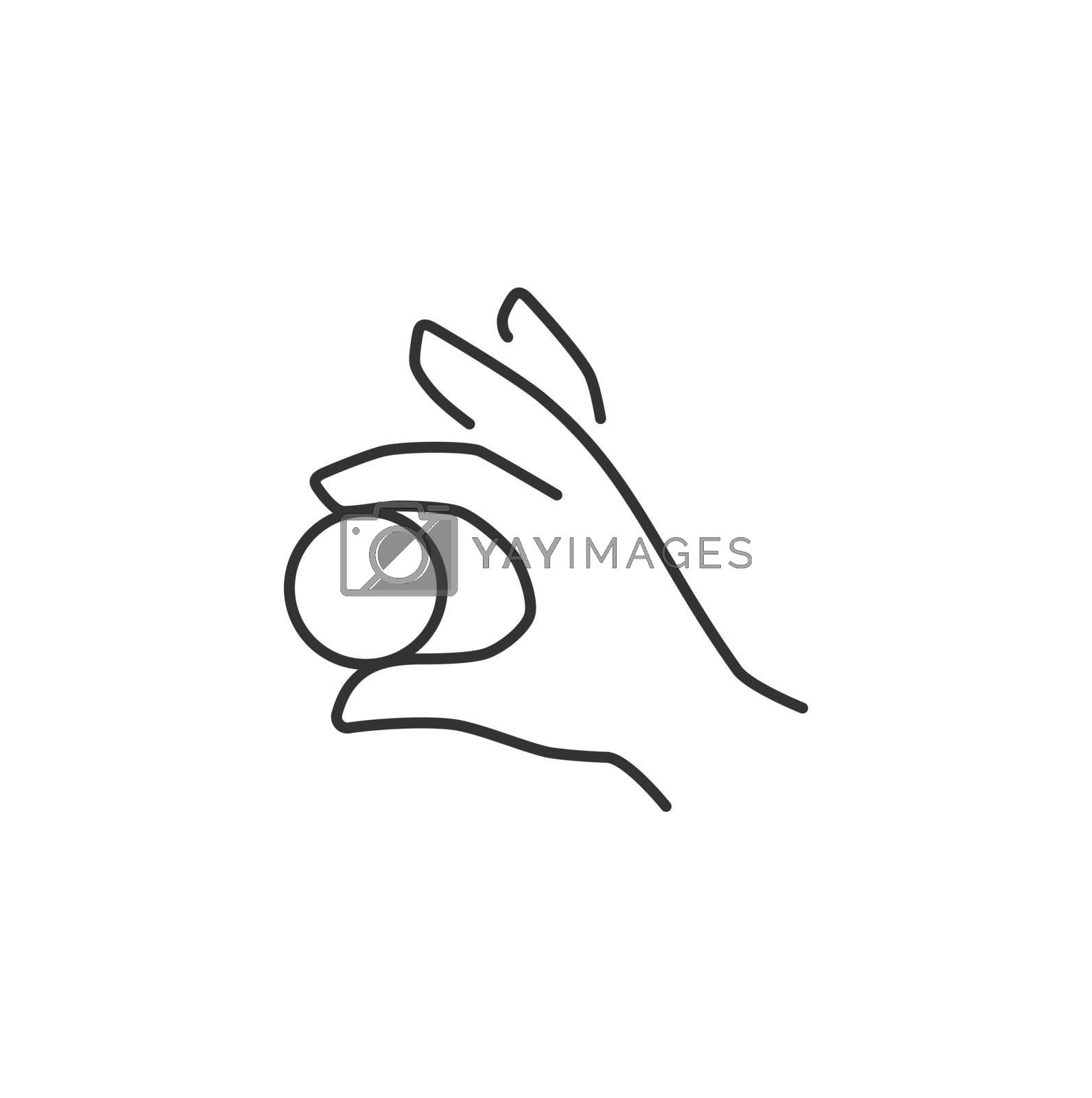 Hand Holding a Coin Related Vector Line Icon. Sign Isolated on the White Background. Editable Stroke EPS file. Vector illustration.