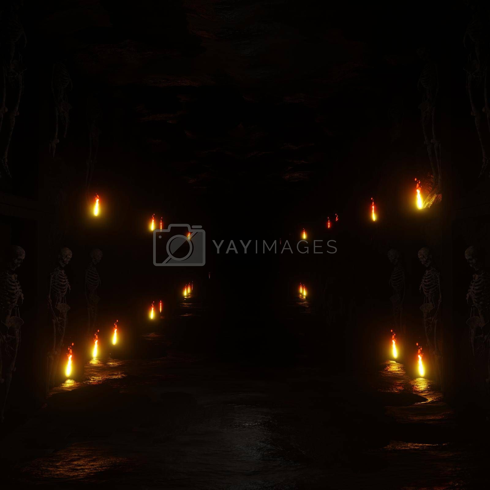 3D illustration Background for advertising and wallpaper in scary  and horror scene. 3D rendering in decorative concept.