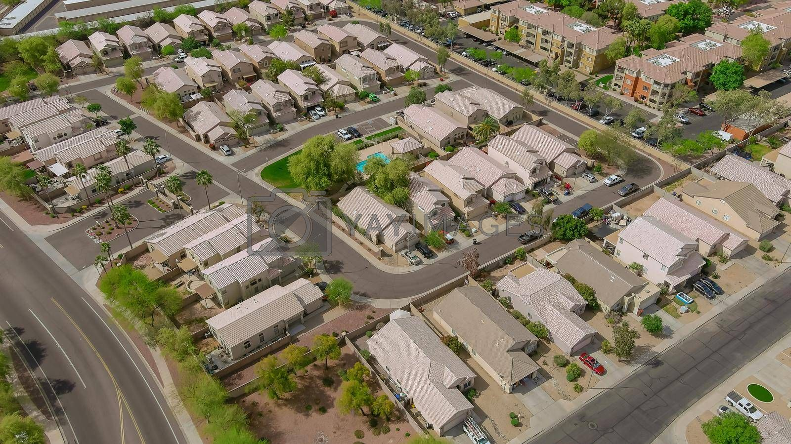 Aerial view of residential quarters at Avondale beautiful town urban landscape the Arizona USA