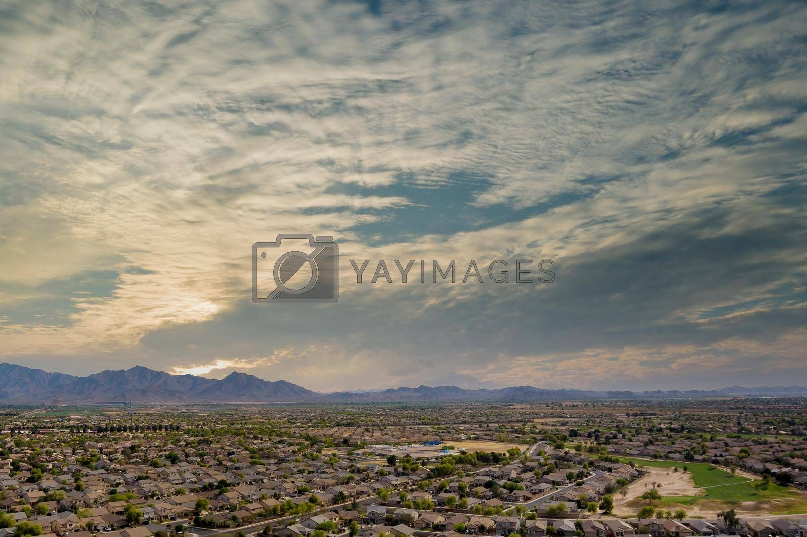 Avondale small town a view overlooking desert mountains near on of state capital Phoenix Arizona
