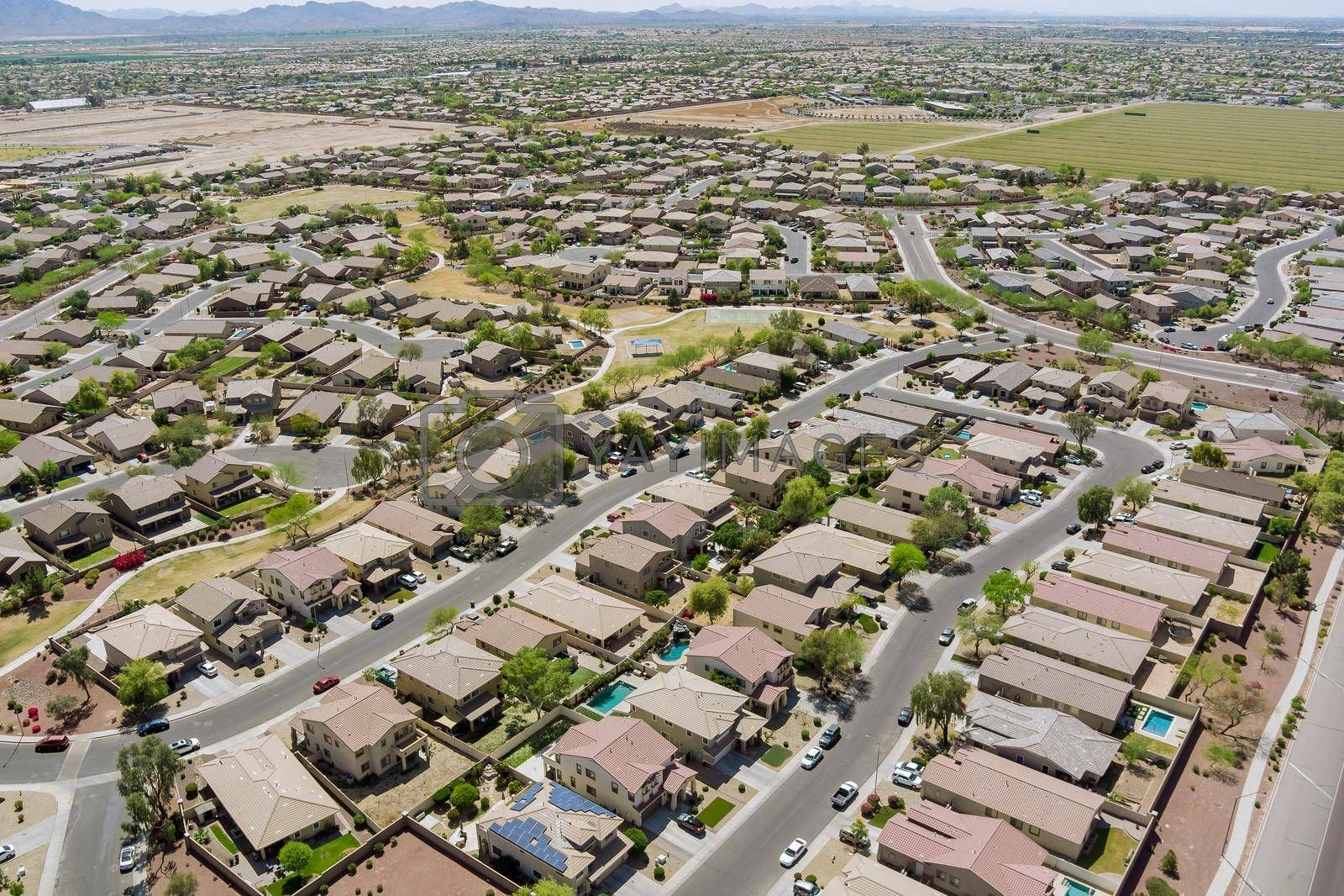 Aerial drone view of small town on desert residential area of a neighborhood with Avondale town Arizona USA