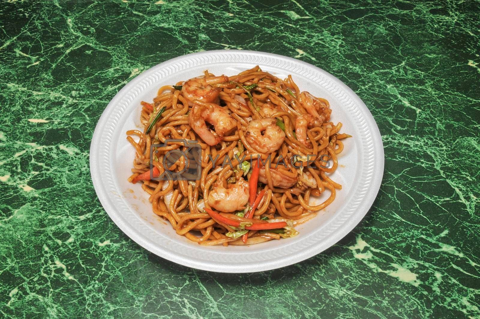 Traditional and authentic Chinese cuisine known as shrimp lo mein