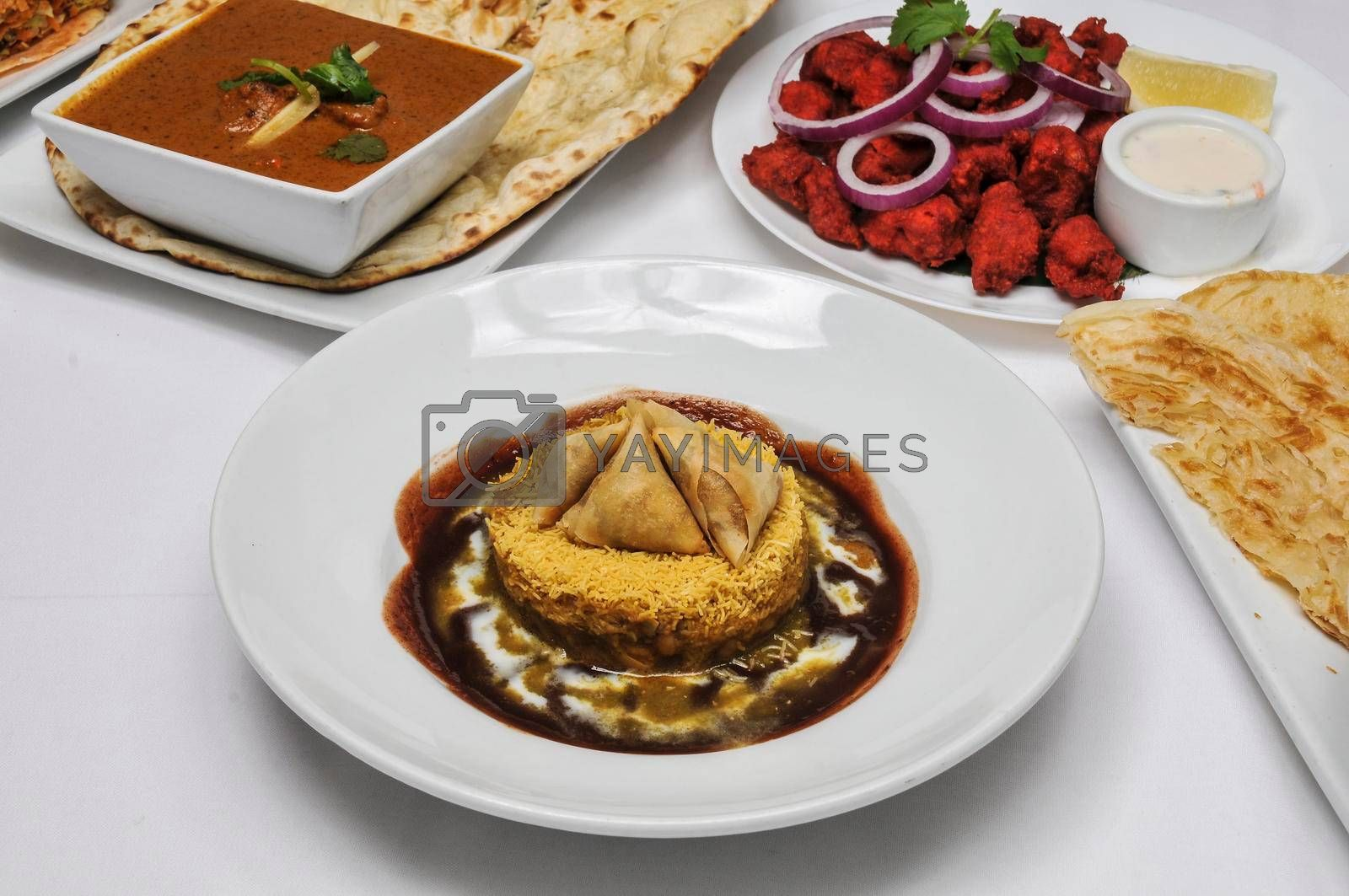 Traditional northern indian dish known as Samosa chaat