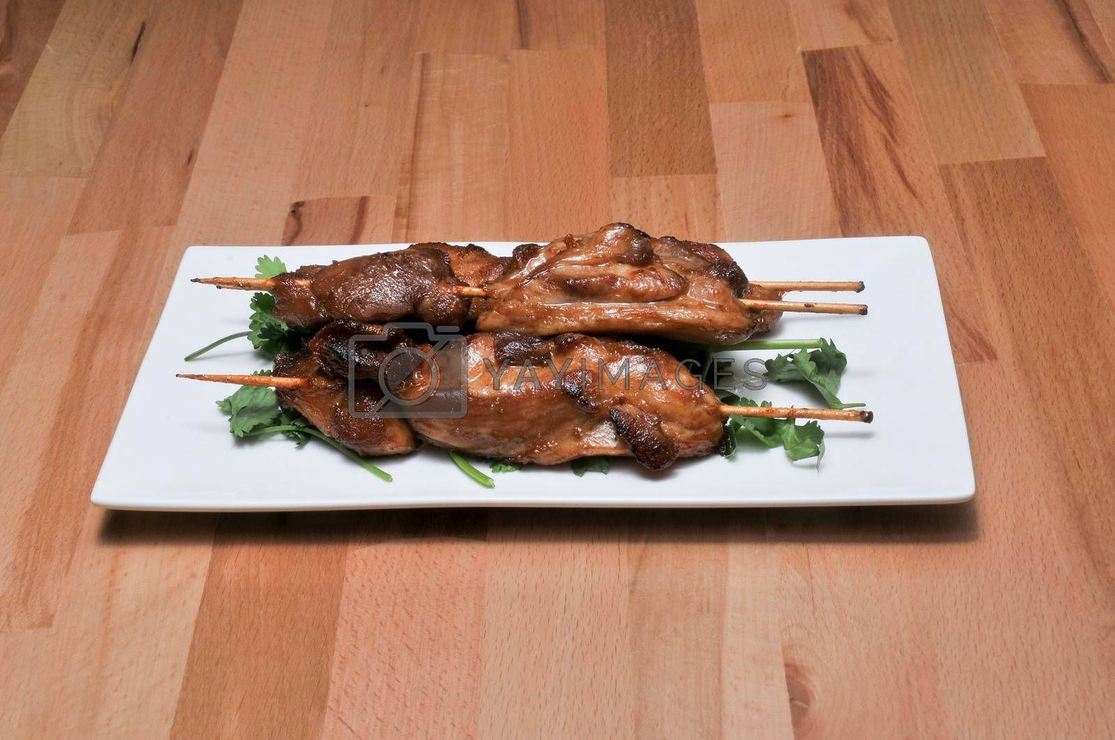 Delicious Chinese food known as chicken skewers