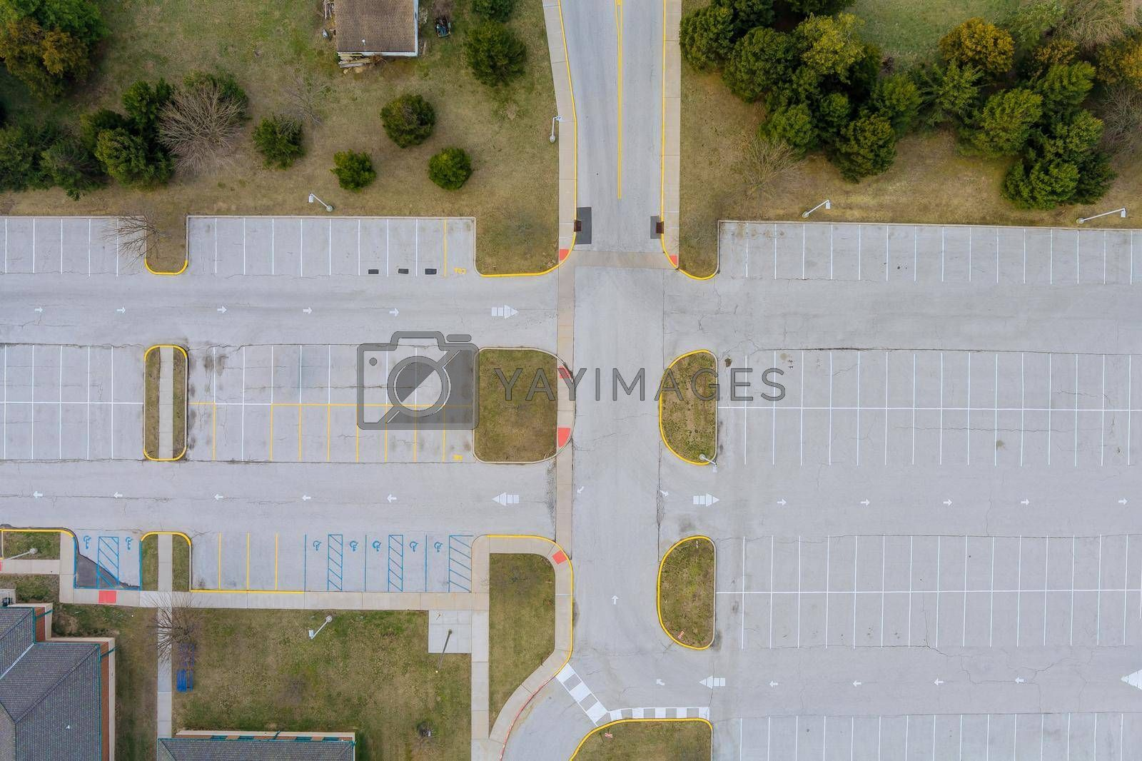 Aerial view of an empty places parking lot large