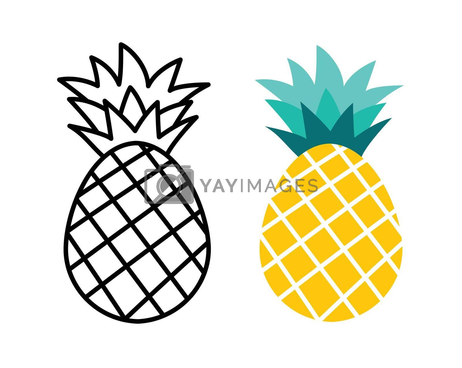 Pineapple fruit flat and outline design. Summer tropical fruits for healthy lifestyle.