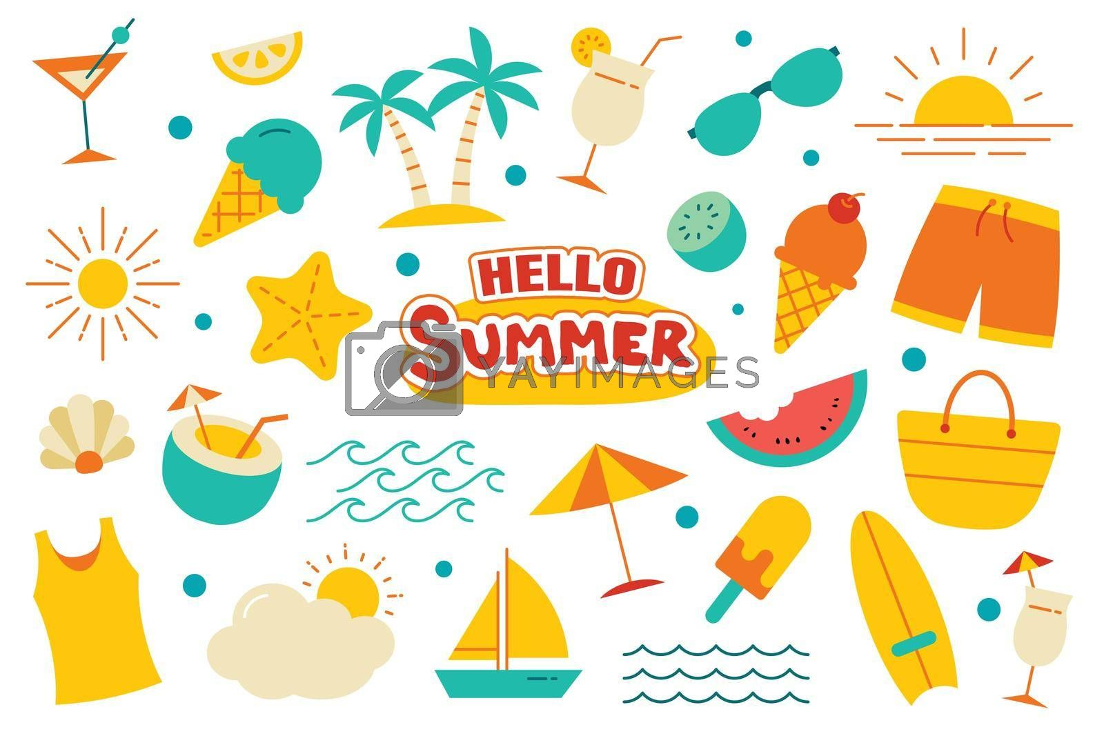 Hello summer collection set flat design on white background. Summer  symbols and objects colorful.