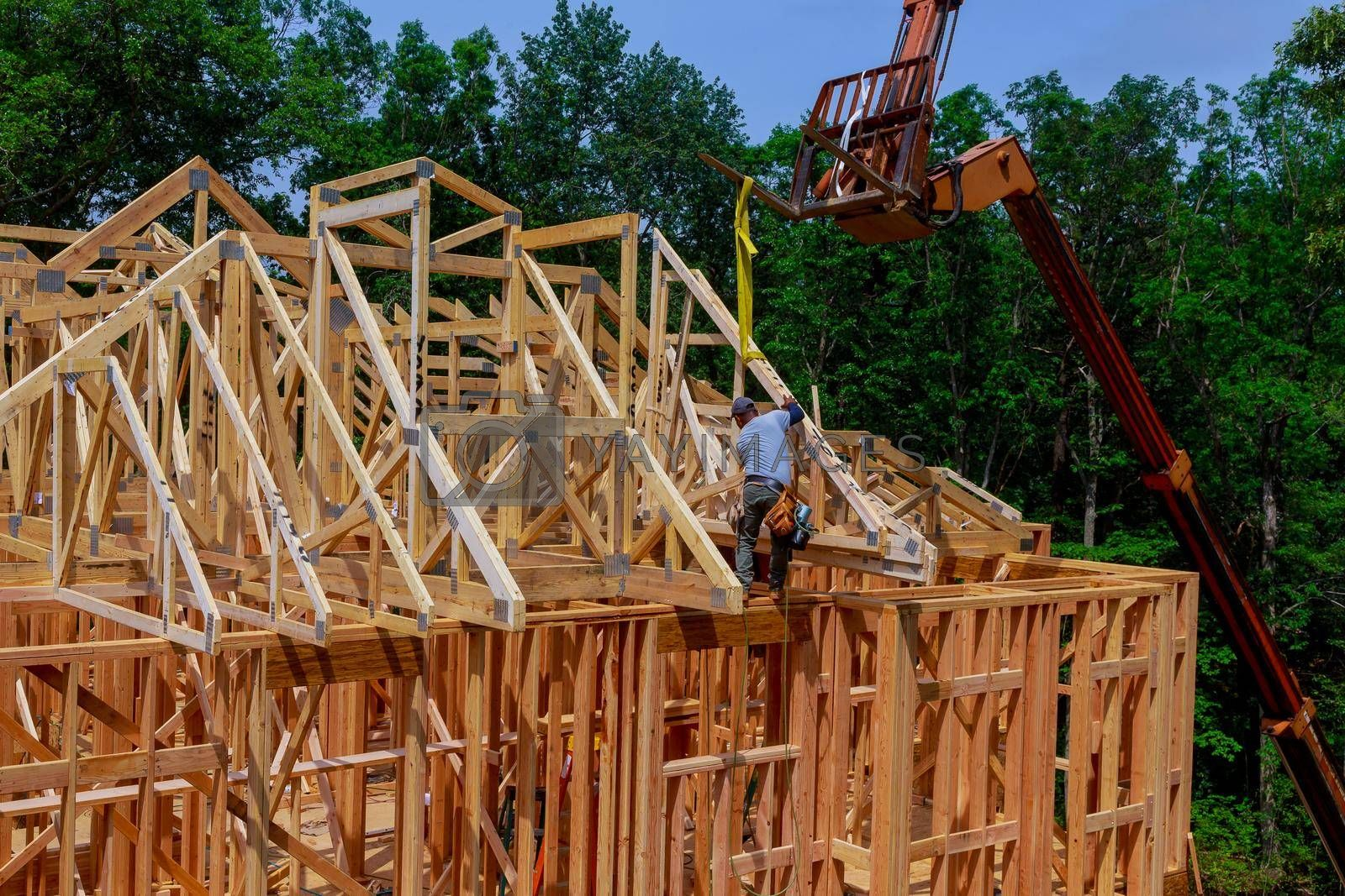Construction home interior inside a framing on residential beam roofing framework wooden new house